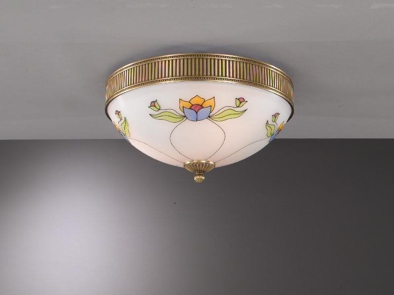Plafoniera classica in ottone e vetro decorato liberty a luci