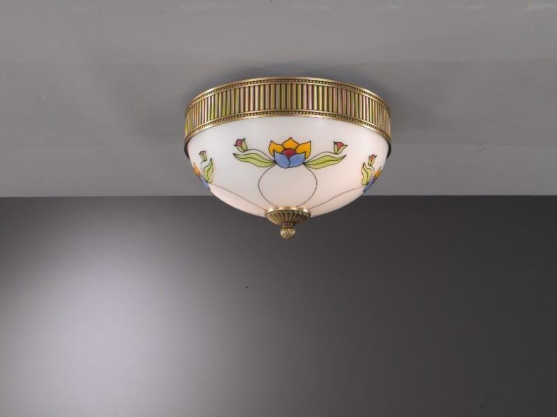 Plafoniera Ottone Vetro : Plafoniera classica in ottone e vetro decorato liberty a 2 luci 30
