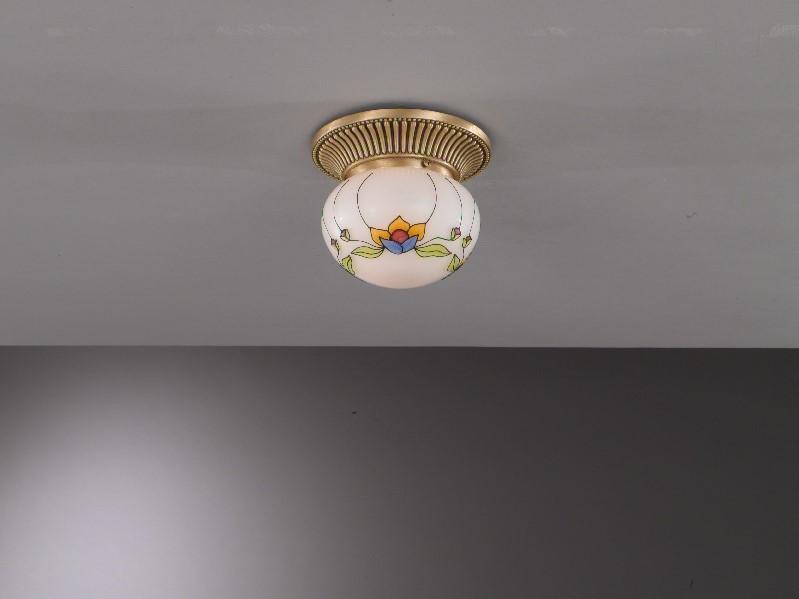 Plafoniera Ottone Vetro : Plafoniera classica in ottone con sfera vetro decorato liberty