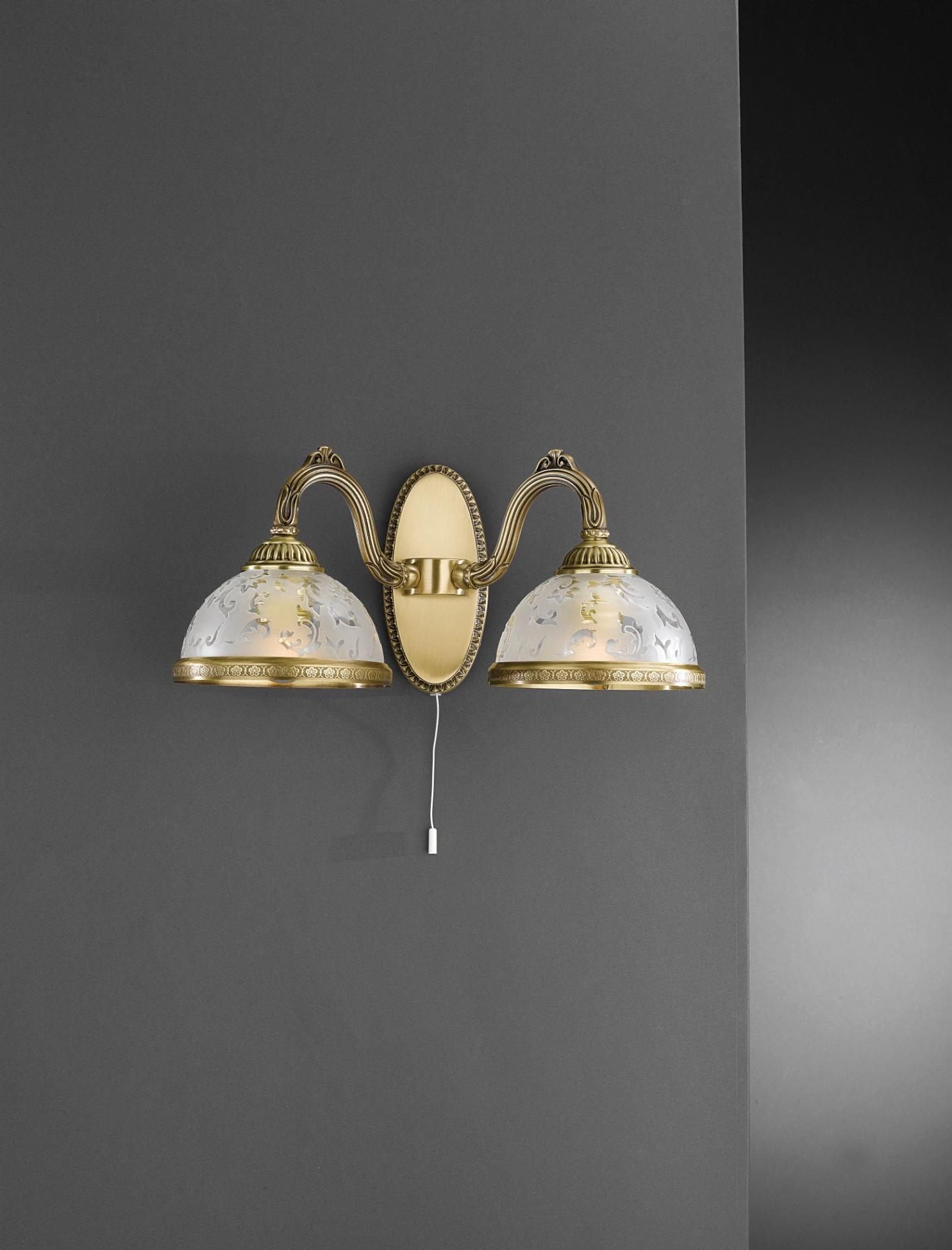 wandlampe aus messing mit milchglas 2 flammig reccagni store. Black Bedroom Furniture Sets. Home Design Ideas