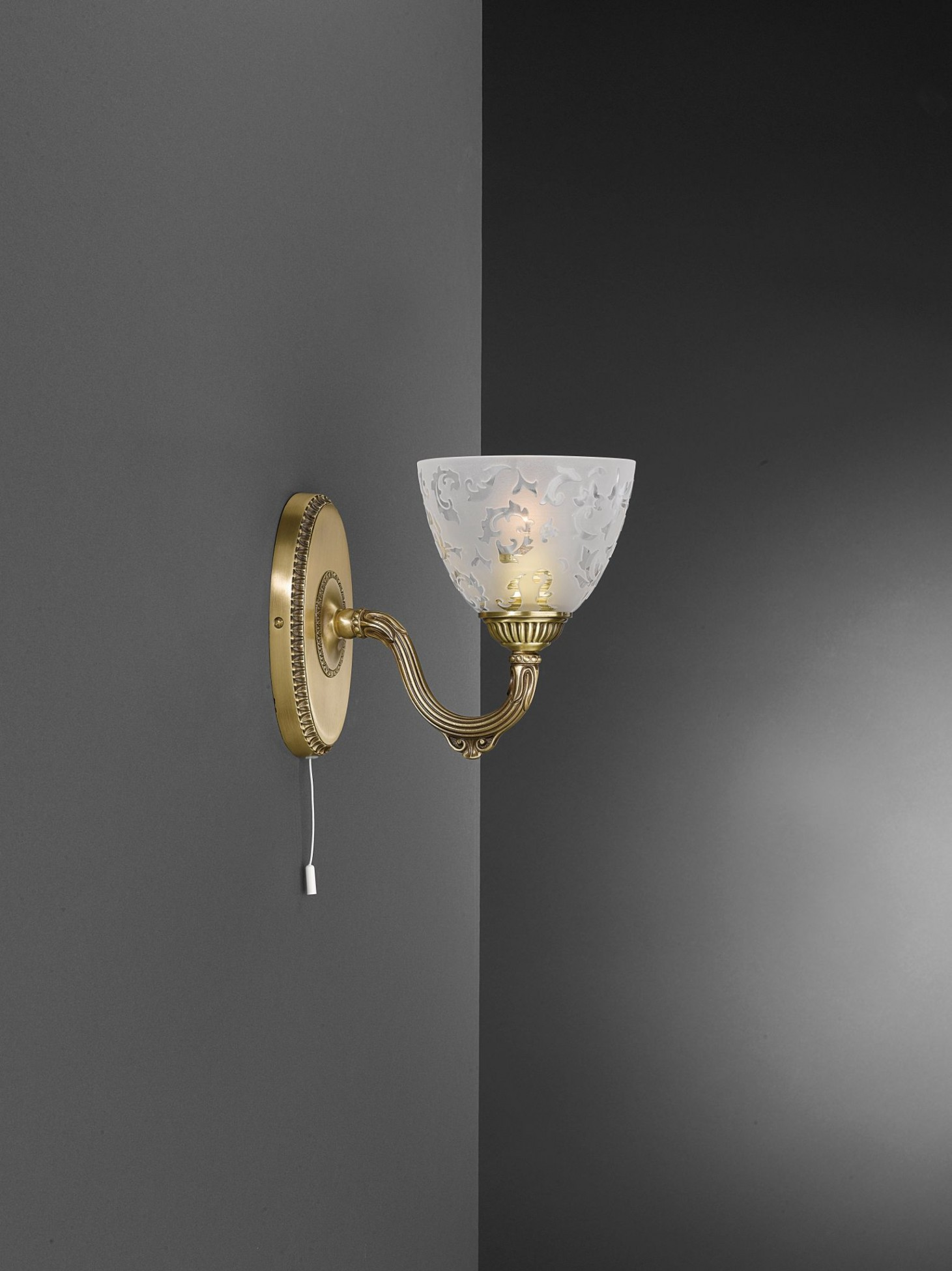 1 light brass wall sconce with frosted glass facing upward Reccagni Store