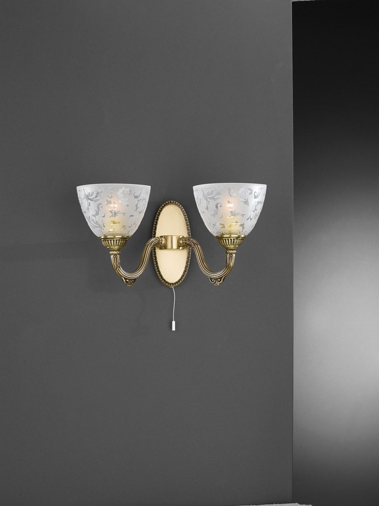 wandlampe aus messing mit milchglas 2 flammig nach oben. Black Bedroom Furniture Sets. Home Design Ideas