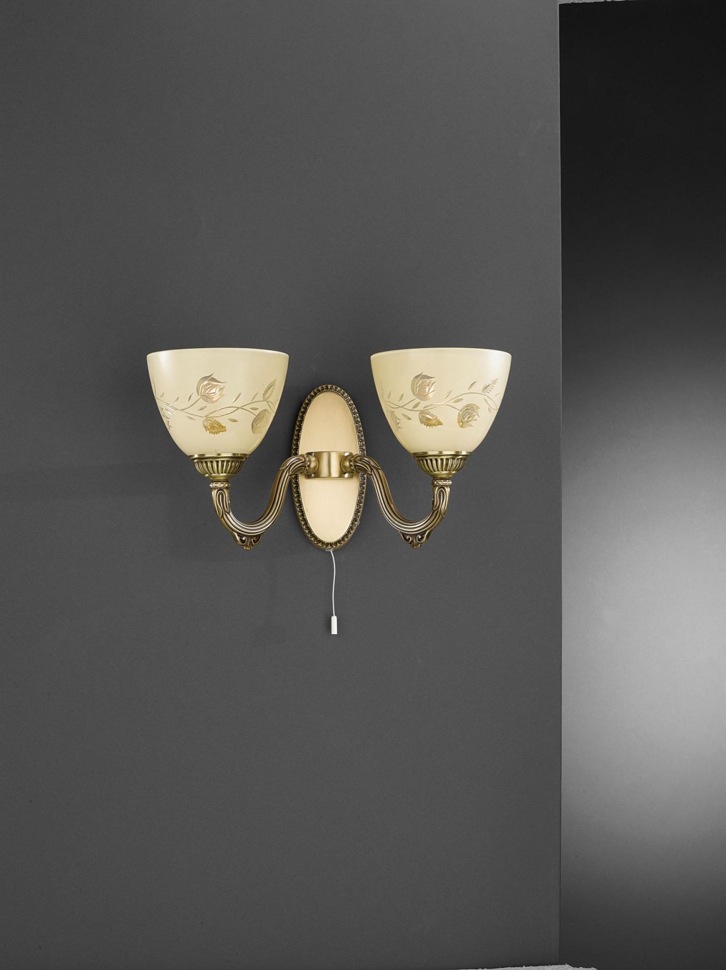 Applique in ottone e vetro crema con decori a 2 luci verso alto ...