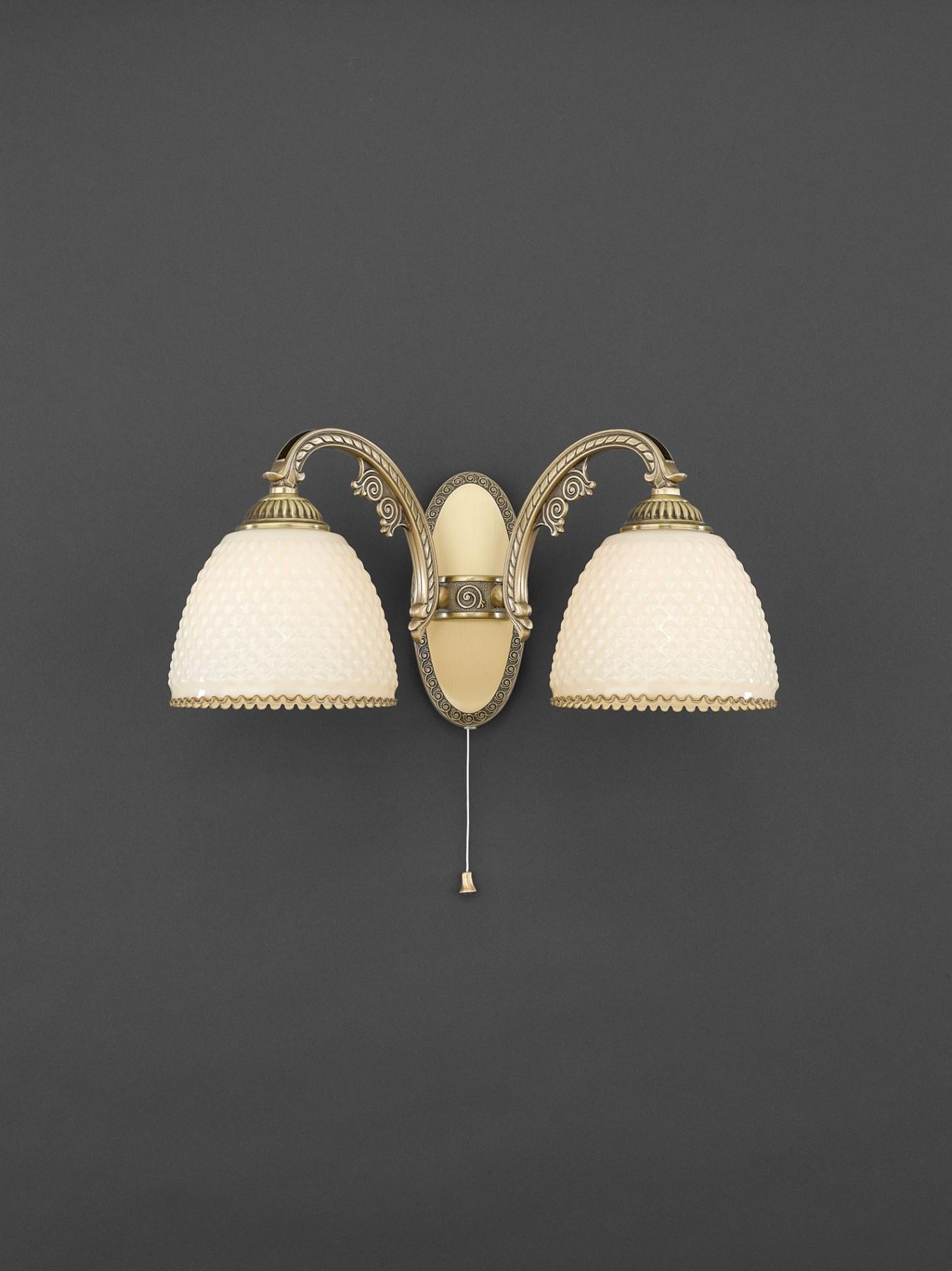 wandlampe aus messing und elfenbein glas 2 flammig. Black Bedroom Furniture Sets. Home Design Ideas