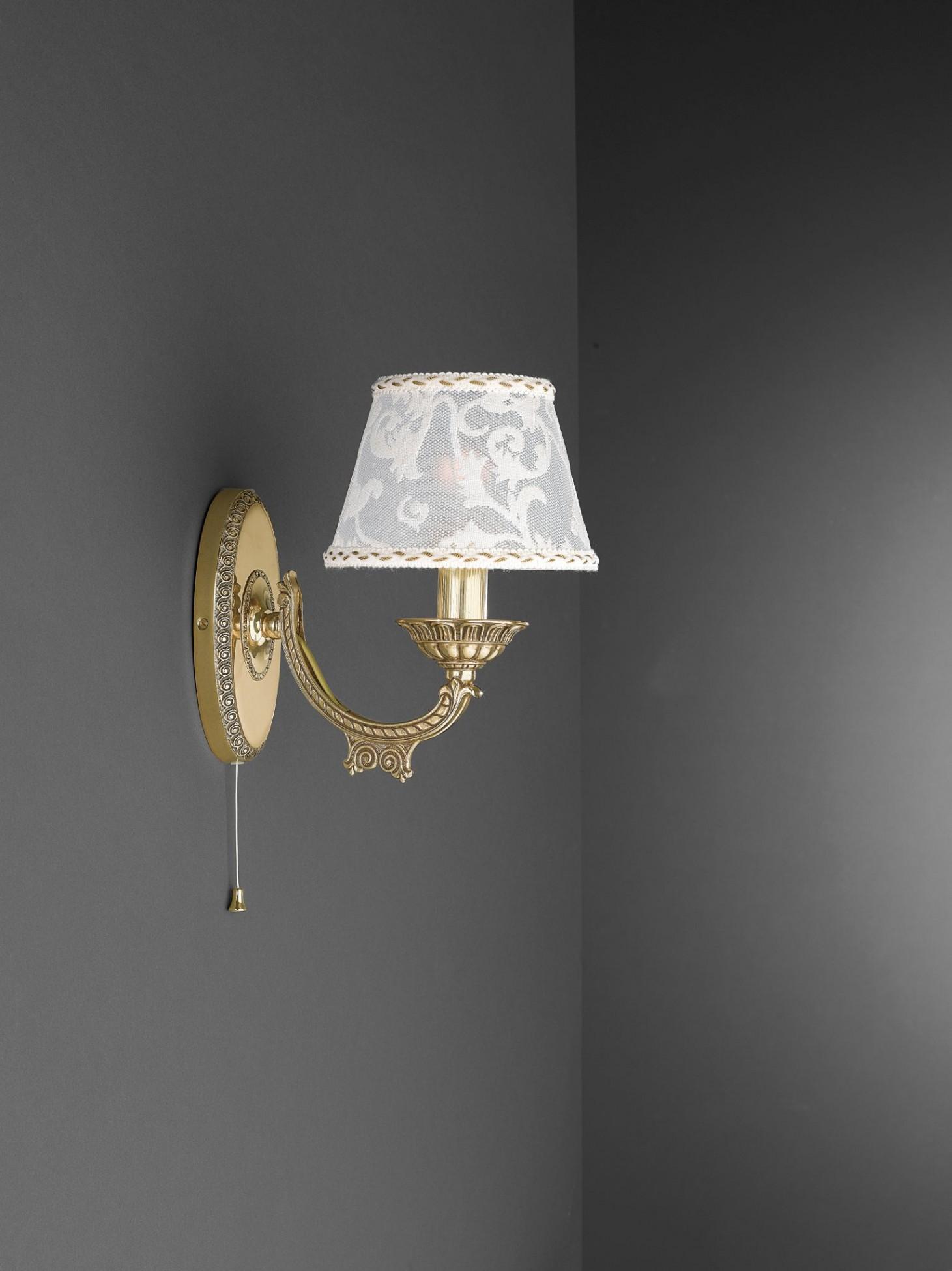 Applique in ottone dorato con paralume a 1 luce reccagni - Applique da parete classiche ...
