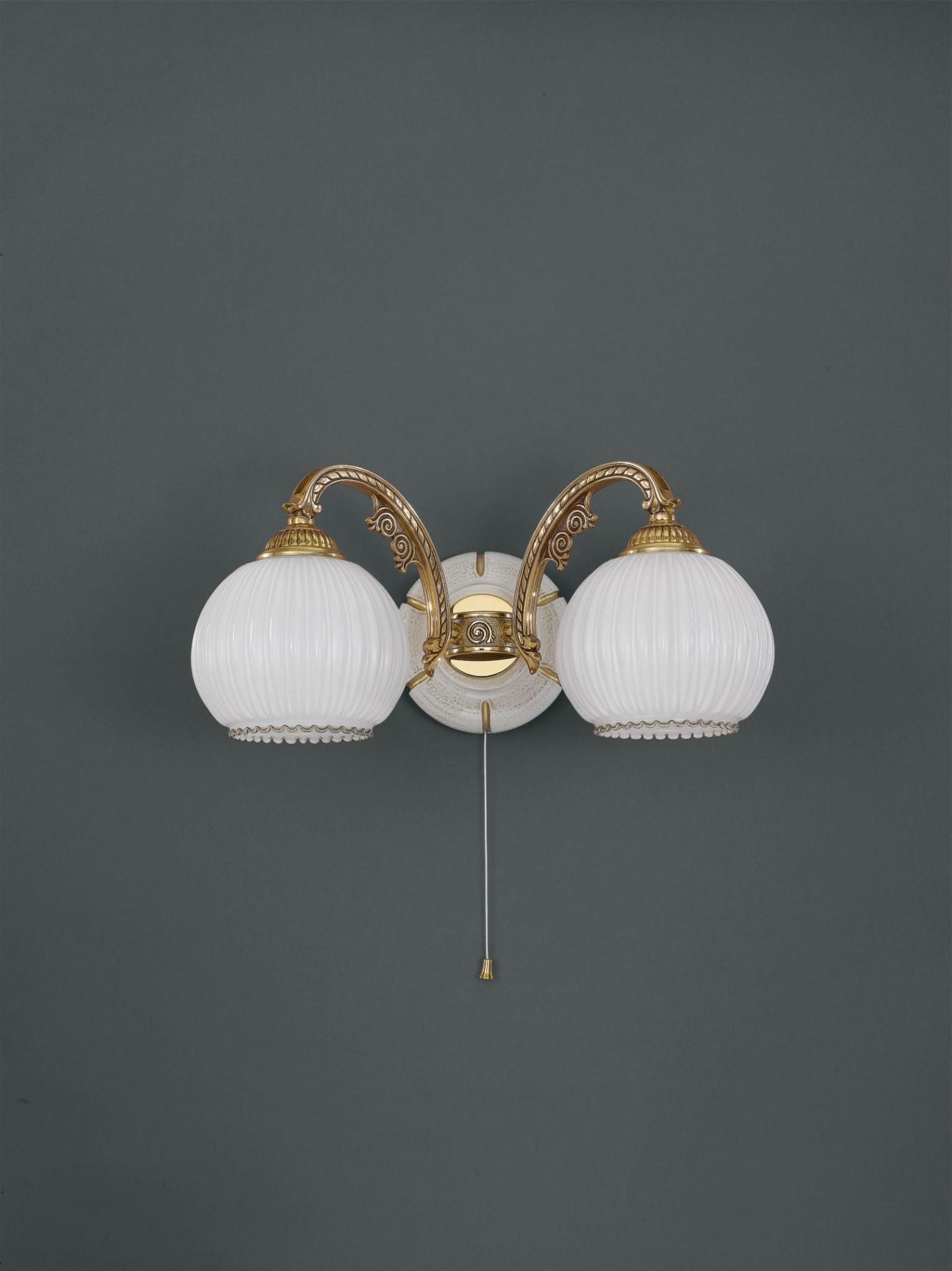 applique in ottone dorato e vetro bianco a 2 luci verso
