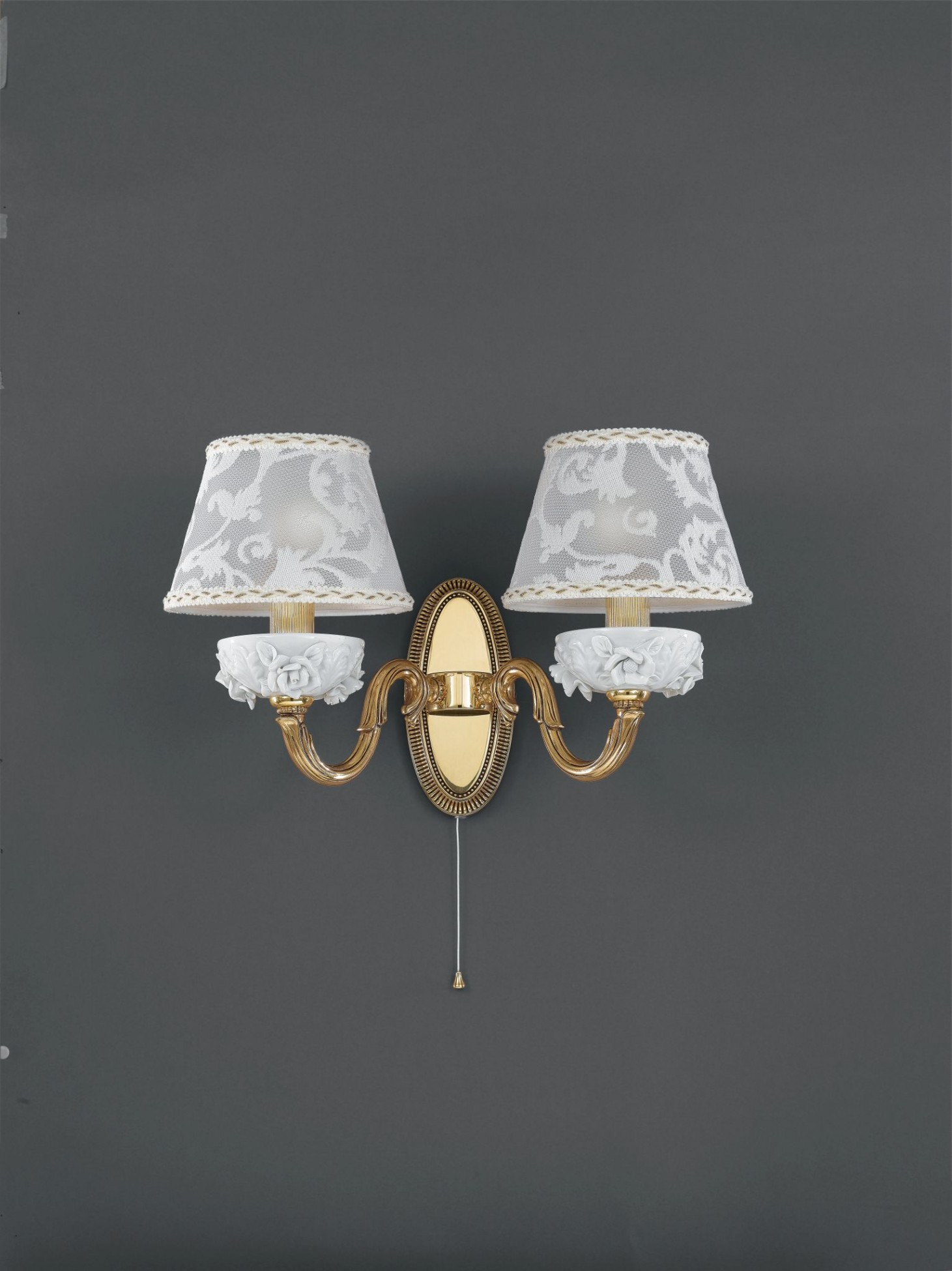 2 light golden brass and white porcelain wall sconce with lamp shade