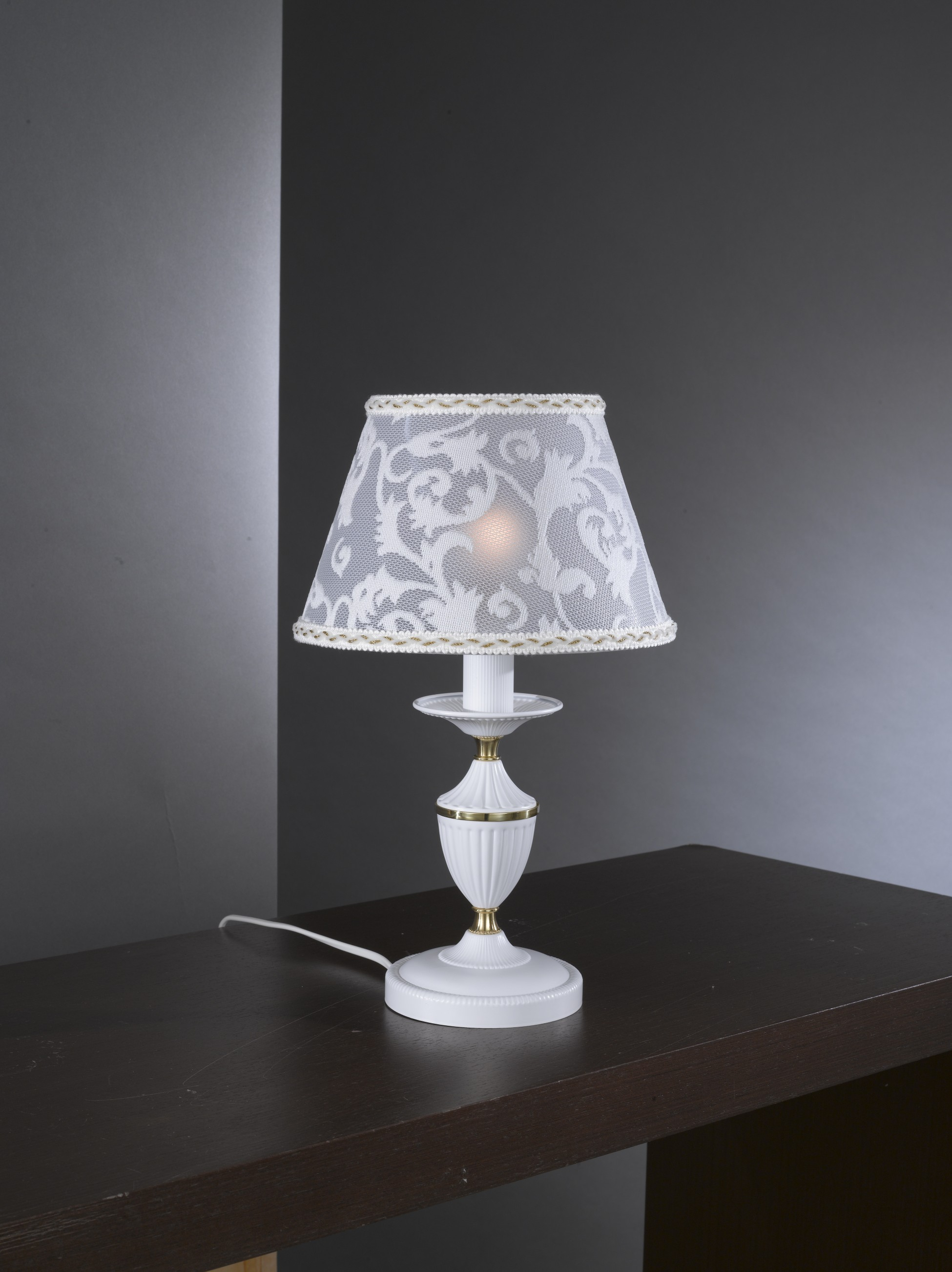 Small Matt White Iron Brass Bedside Lamp With Lamp Shade