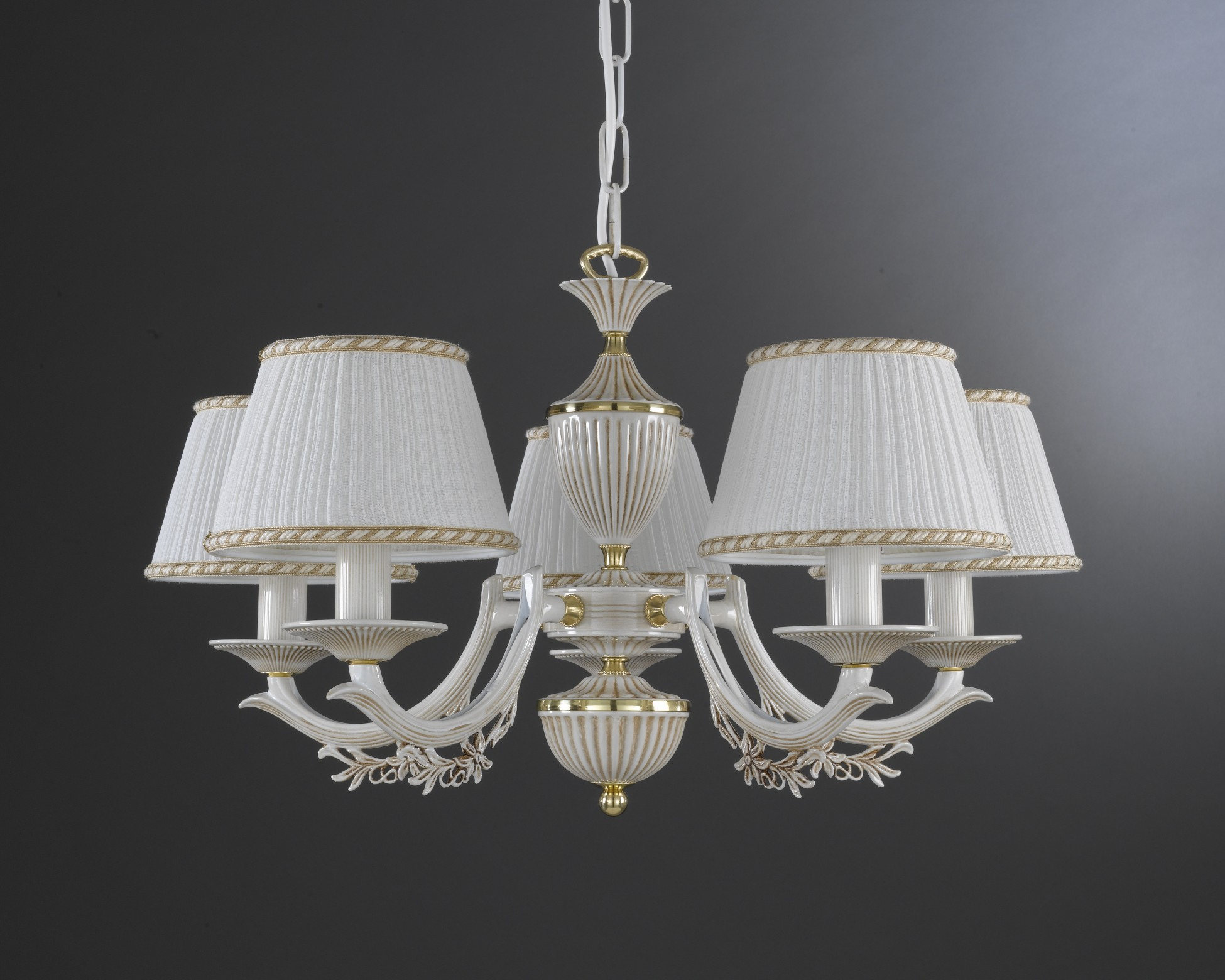 5 lights old white brass chandelier with lamp shades reccagni store - White chandelier with shades ...