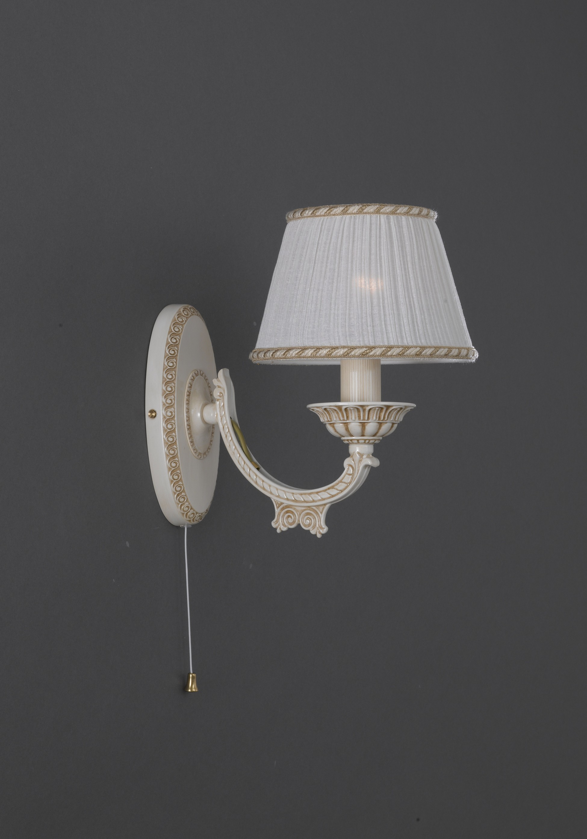 Brass Wall Lights With Shades : 1 light old white brass wall sconce with lamp shades Reccagni Store