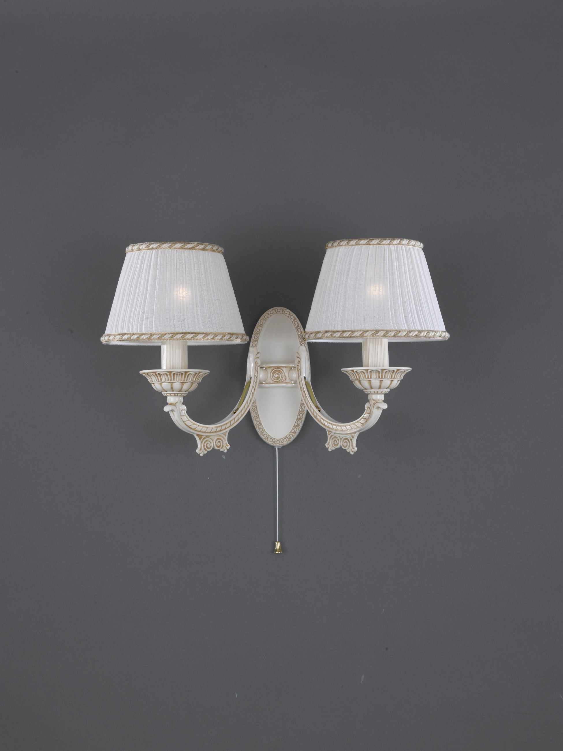 2 Lights Old White Brass Wall Sconce With Lamp Shades