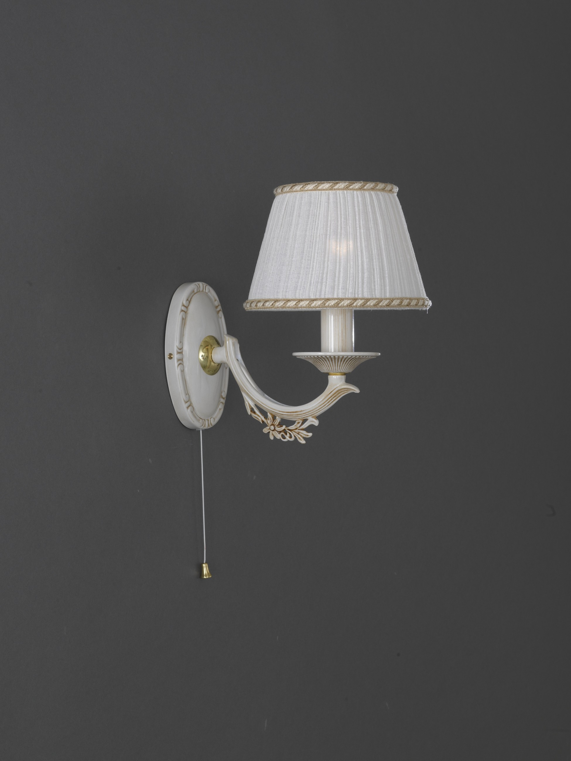 One Light Old White Brass Wall Sconce With Lamp Shades