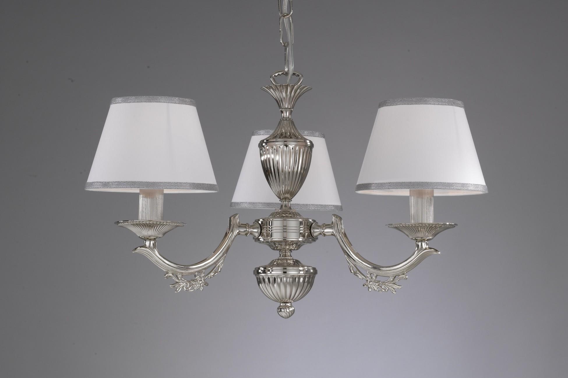 Lampenschirme Klein Kronleuchter ~ Kronleuchter aus nikel farbe mit weiss lampenschirm reccagni store