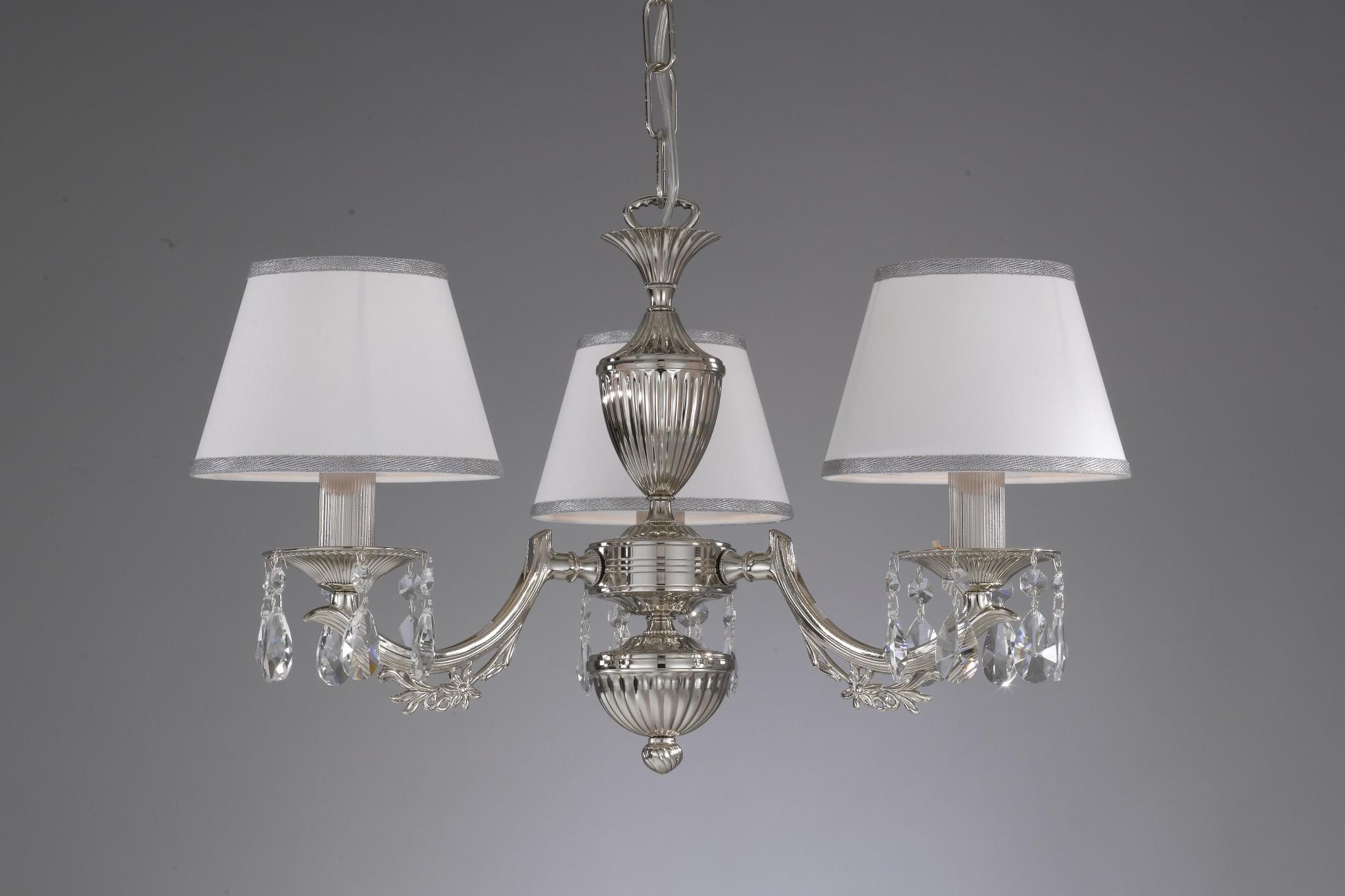 Kronleuchter Mit Lampenschirm ~ Kronleuchter aus nikel farbe mit weiss lampenschirm reccagni store