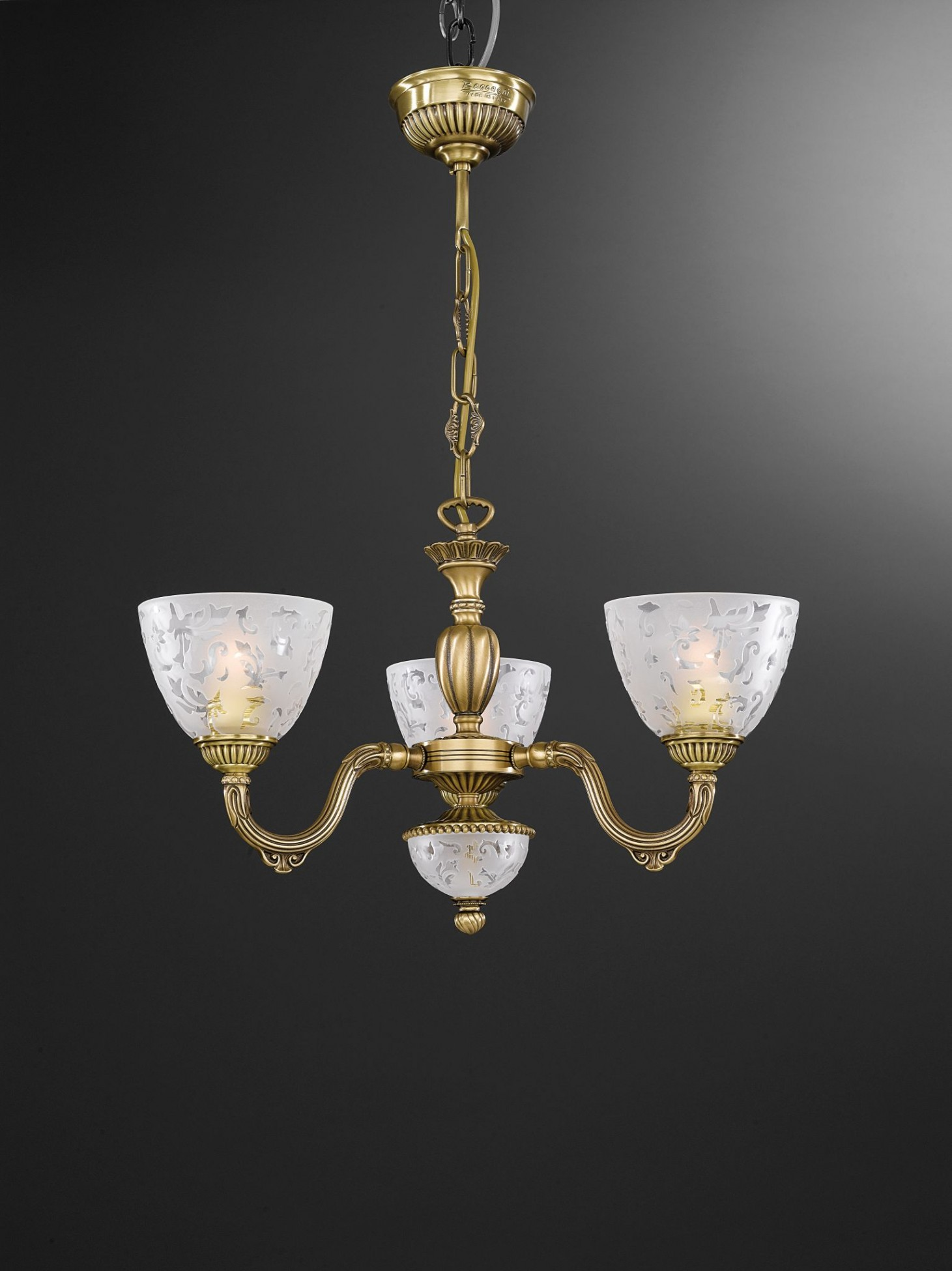 3 light brass chandelier with frosted glasses facing upward reccagni store - Lights and chandeliers ...