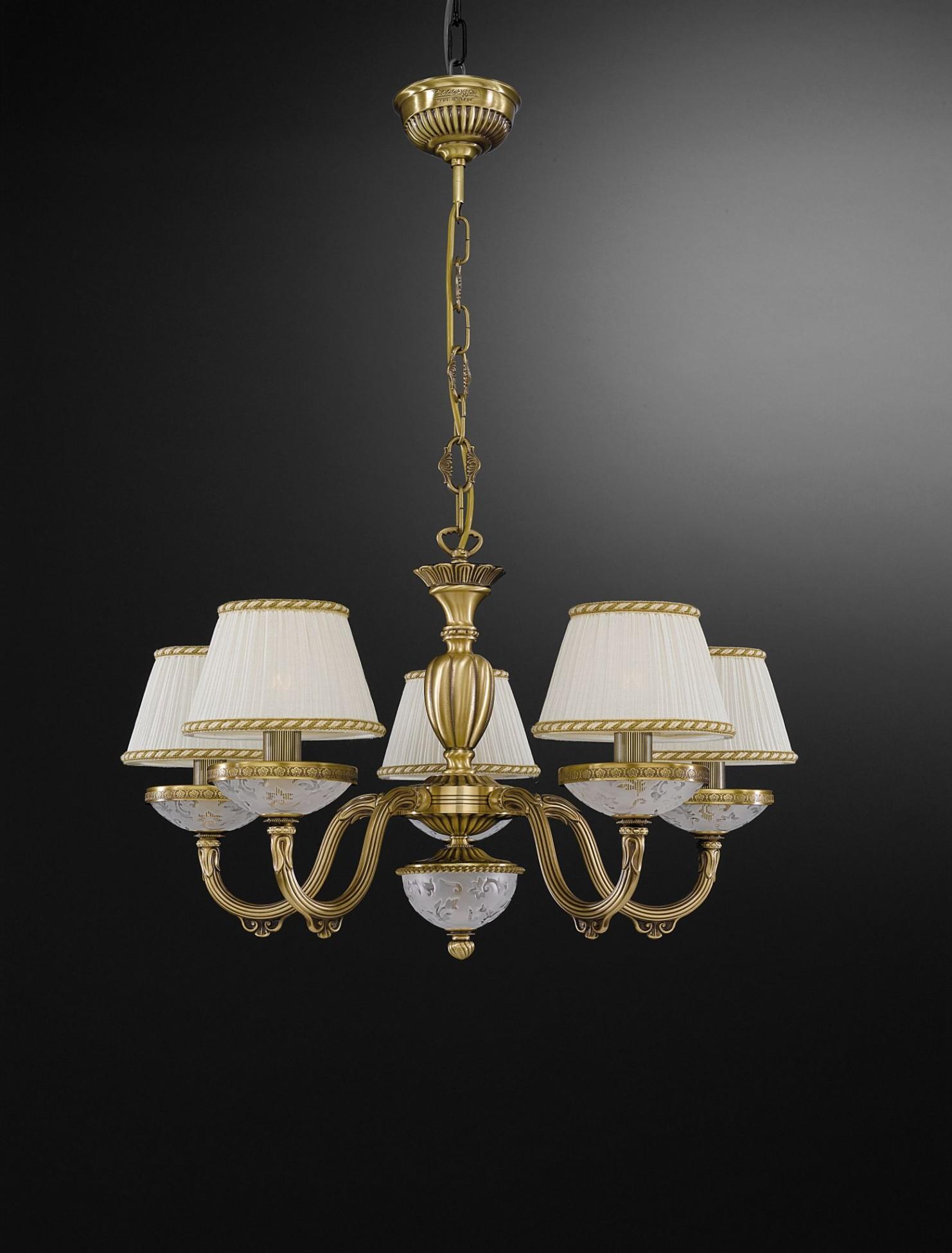 Lampadario in ottone e vetro satinato con paralumi 5 luci reccagni store - Kronleuchter mit lampenschirm ...
