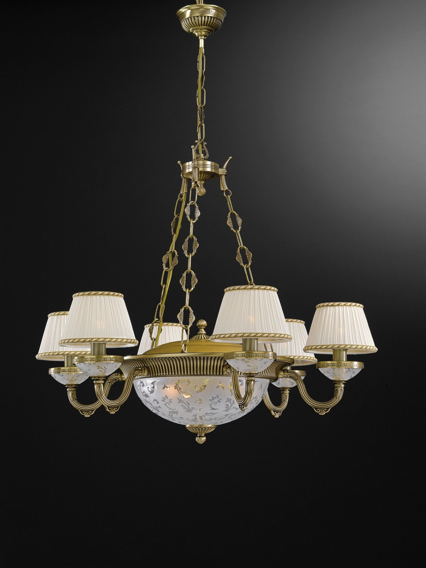 9 Lights Brass And Frosted Glass Chandelier With Lamp Shades
