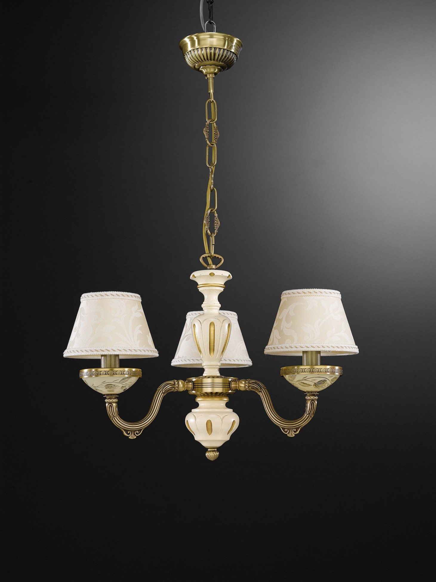3 Lights Brass Wood And Cream Glass Chandelier With Lamp Shades