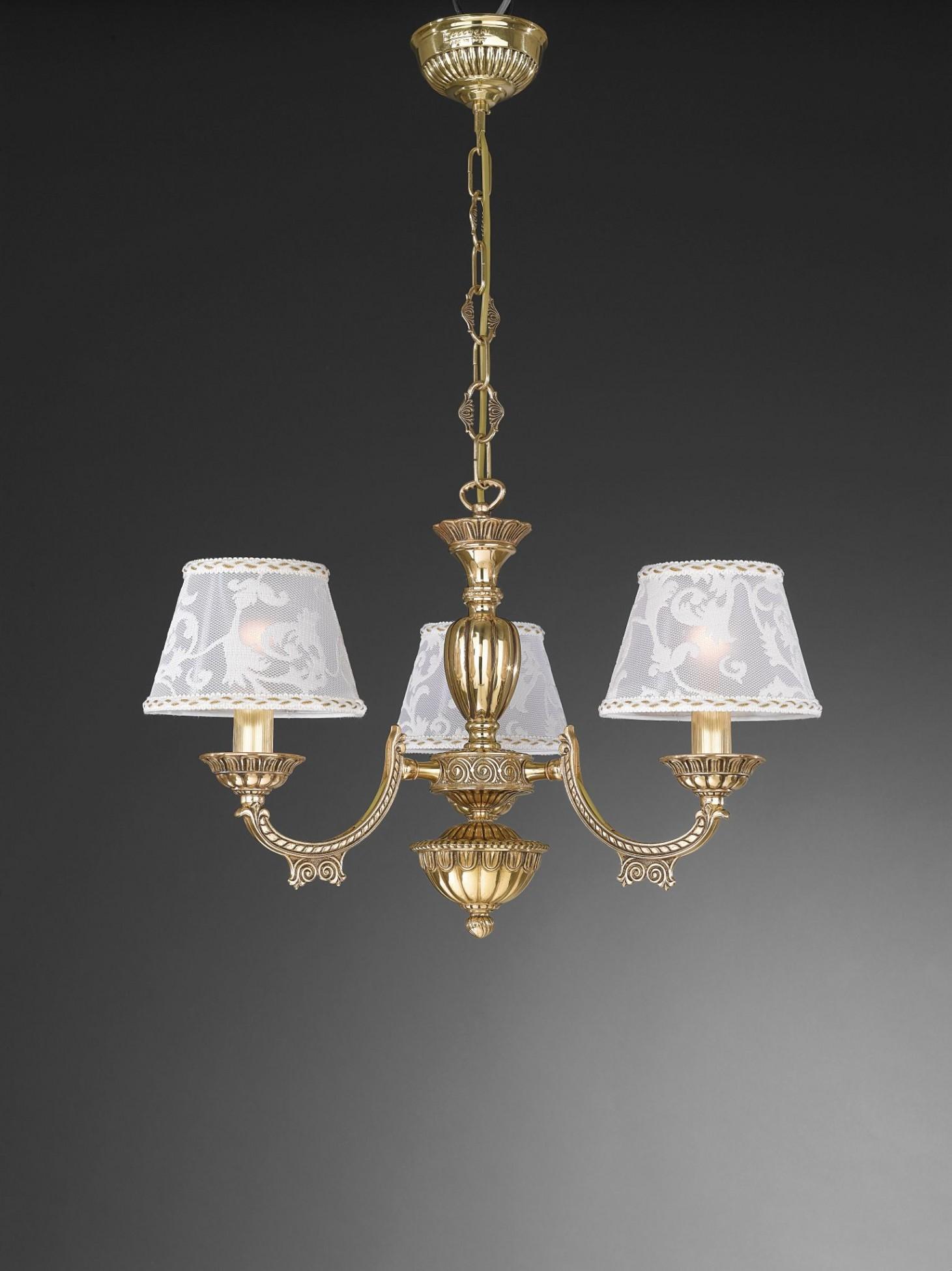 kronleuchter aus goldenen messing mit lampenschirm 3 flammig reccagni store. Black Bedroom Furniture Sets. Home Design Ideas