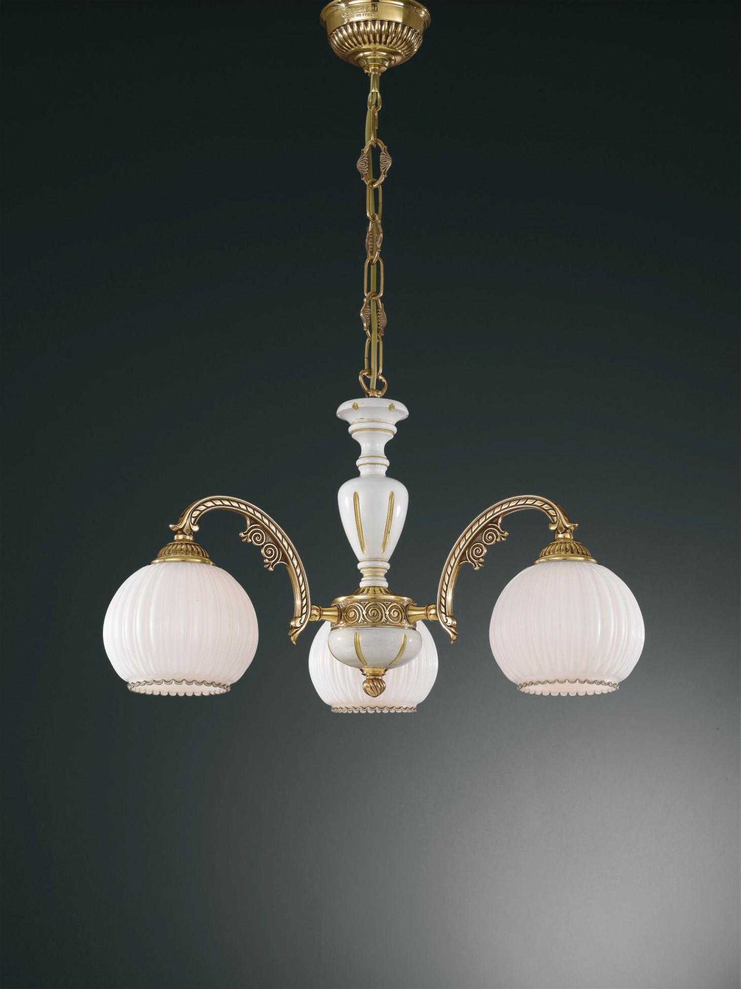 Lampadario in ottone dorato, legno e vetro bianco 3 luci  Reccagni ...