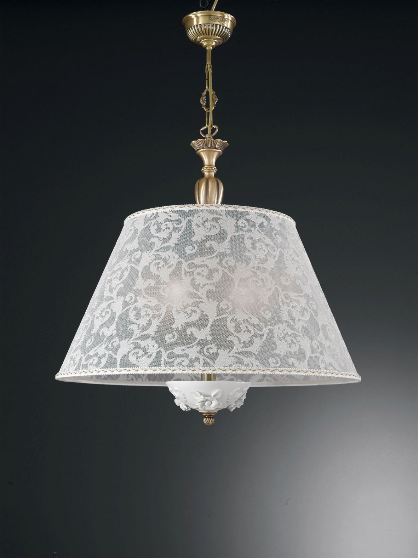 5 lights brass and white porcelain pendant lamp with lamp shade 60 5 lights brass and white porcelain pendant lamp with lamp shade 60 cm aloadofball Choice Image