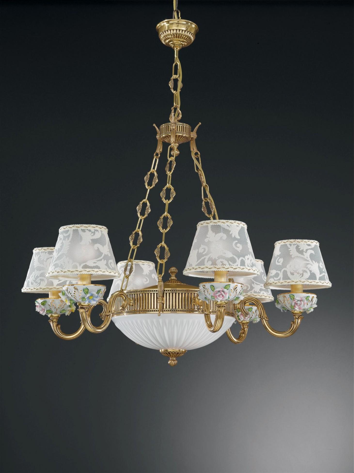 8 Lights Golden Brass And Painted Porcelain Chandelier