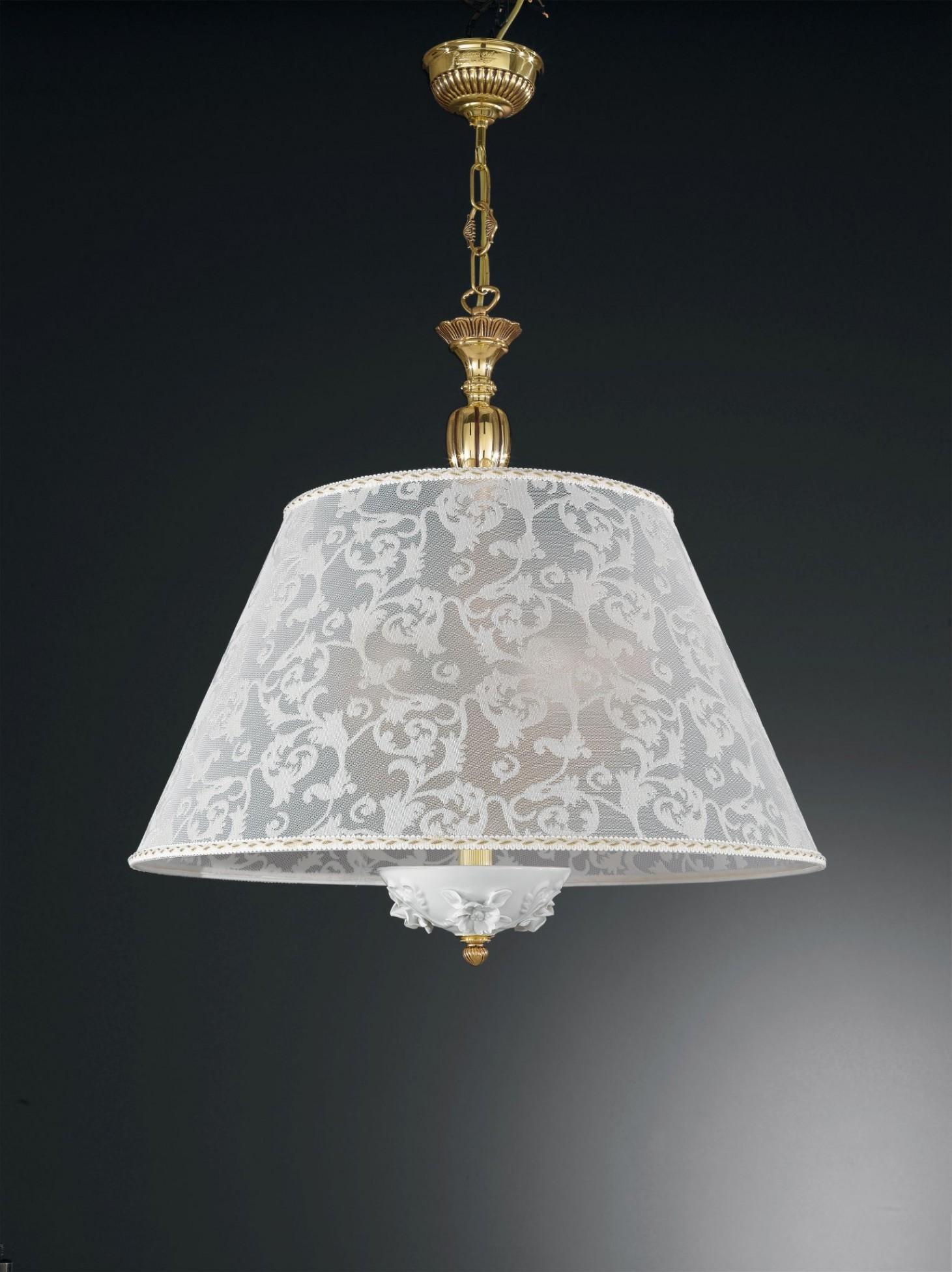 pendelleuchte aus goldenen messing und weissem porzellan mit lampenschirm 60 cm reccagni store. Black Bedroom Furniture Sets. Home Design Ideas