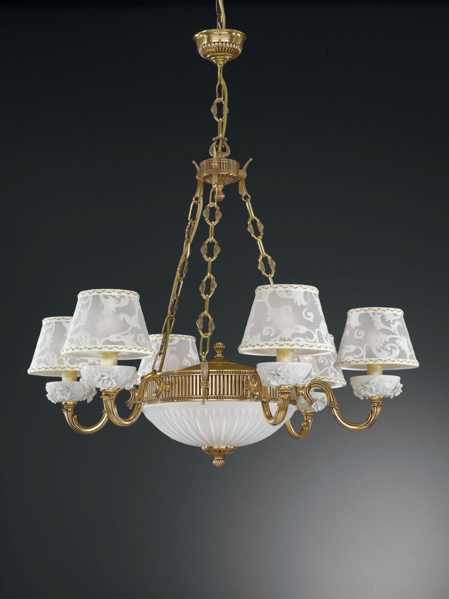 8 lights golden brass and white porcelain chandelier with lamp 8 lights golden brass and white porcelain chandelier with lamp shades arubaitofo Images