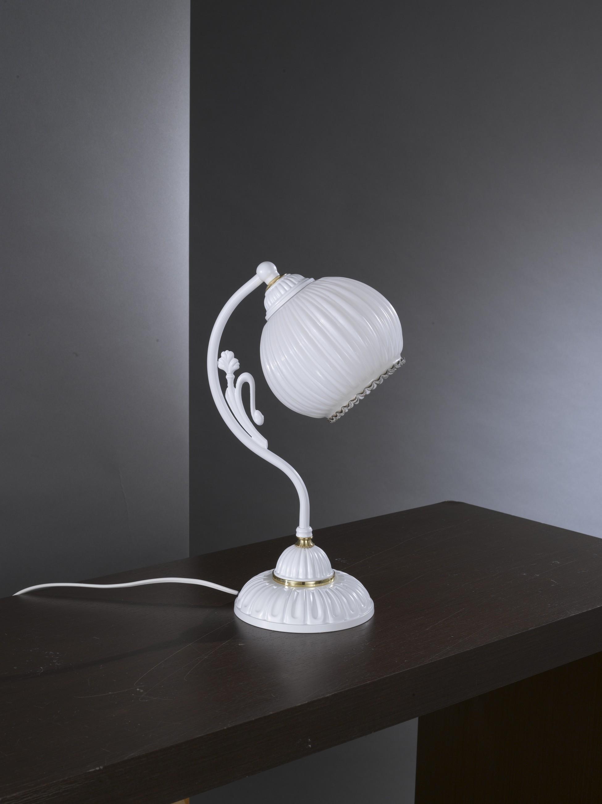 Lampada da comodino con vetro bianco soffiato reccagni store for Lampada comodino