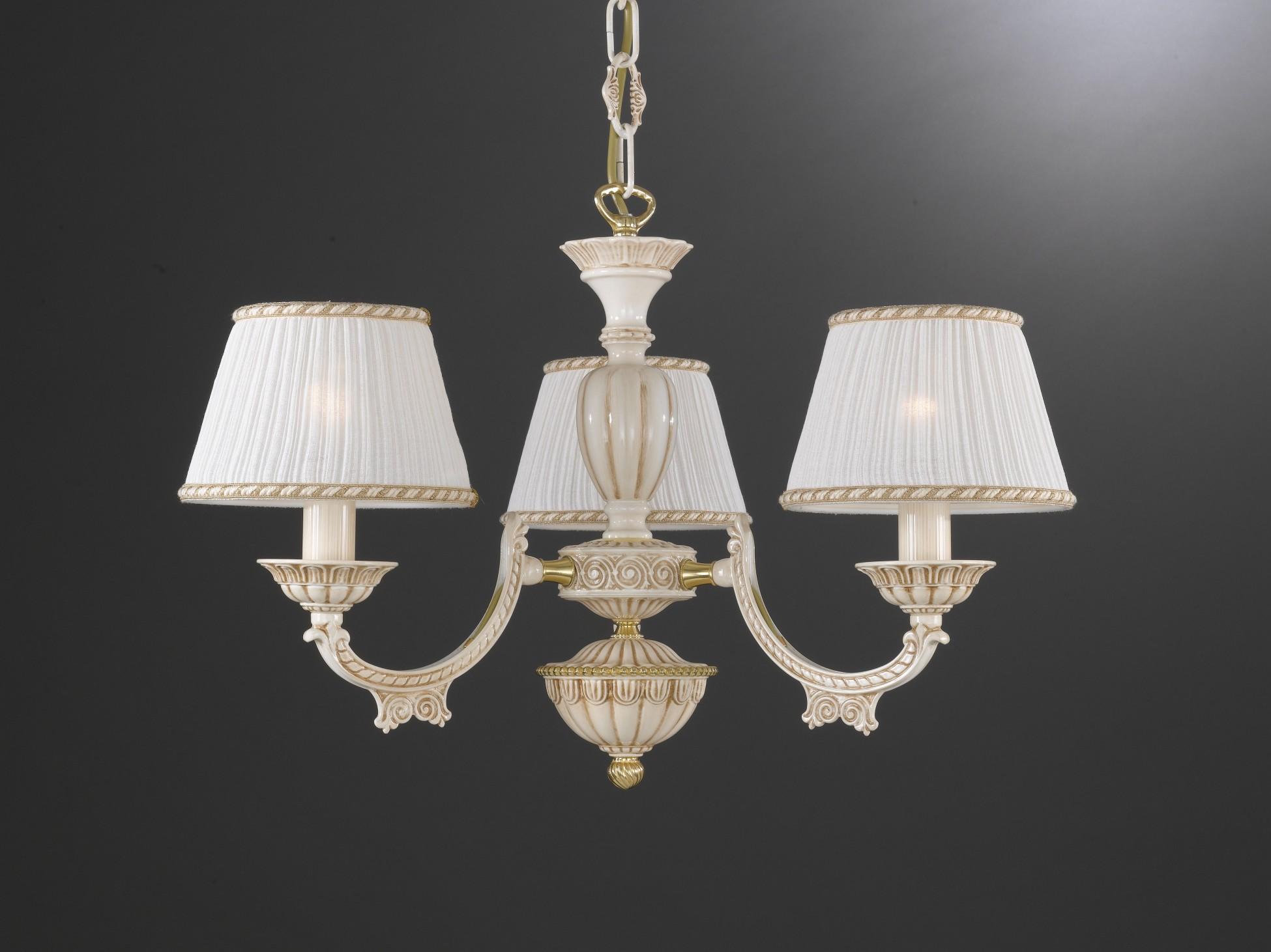 Lampadario in ottone bianco antico con paralumi a 3 luci reccagni