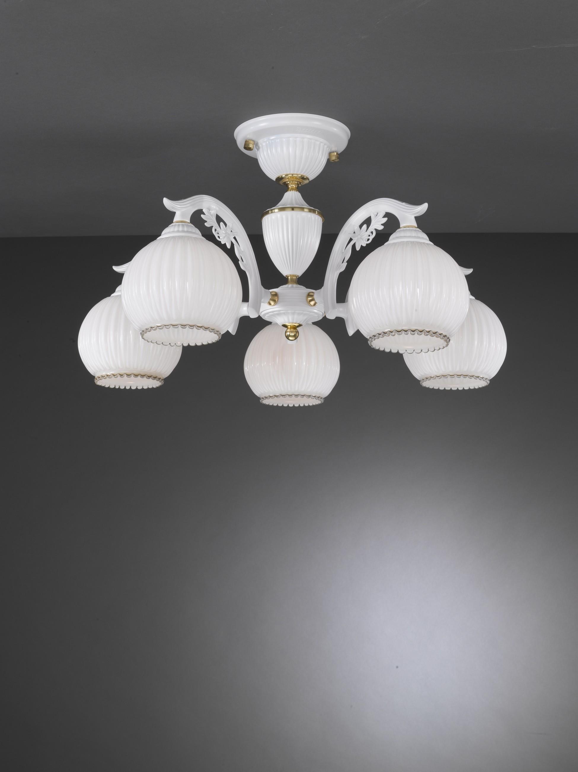 Lampadario classico a 5 luci vetro bianco soffiato  Reccagni Store