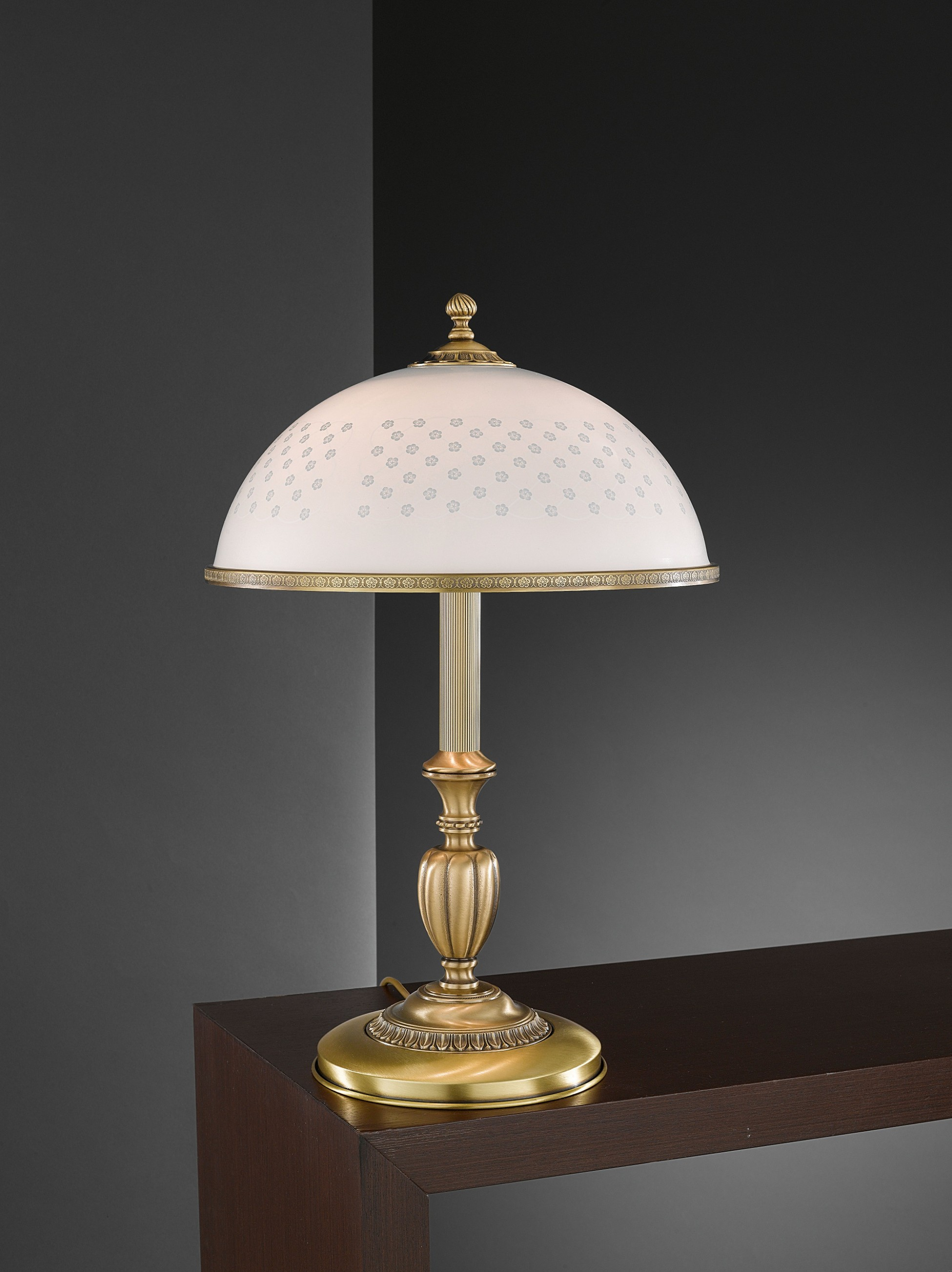 Large Brass Table Lamp With Decorated Spring Glass Reccagni Store