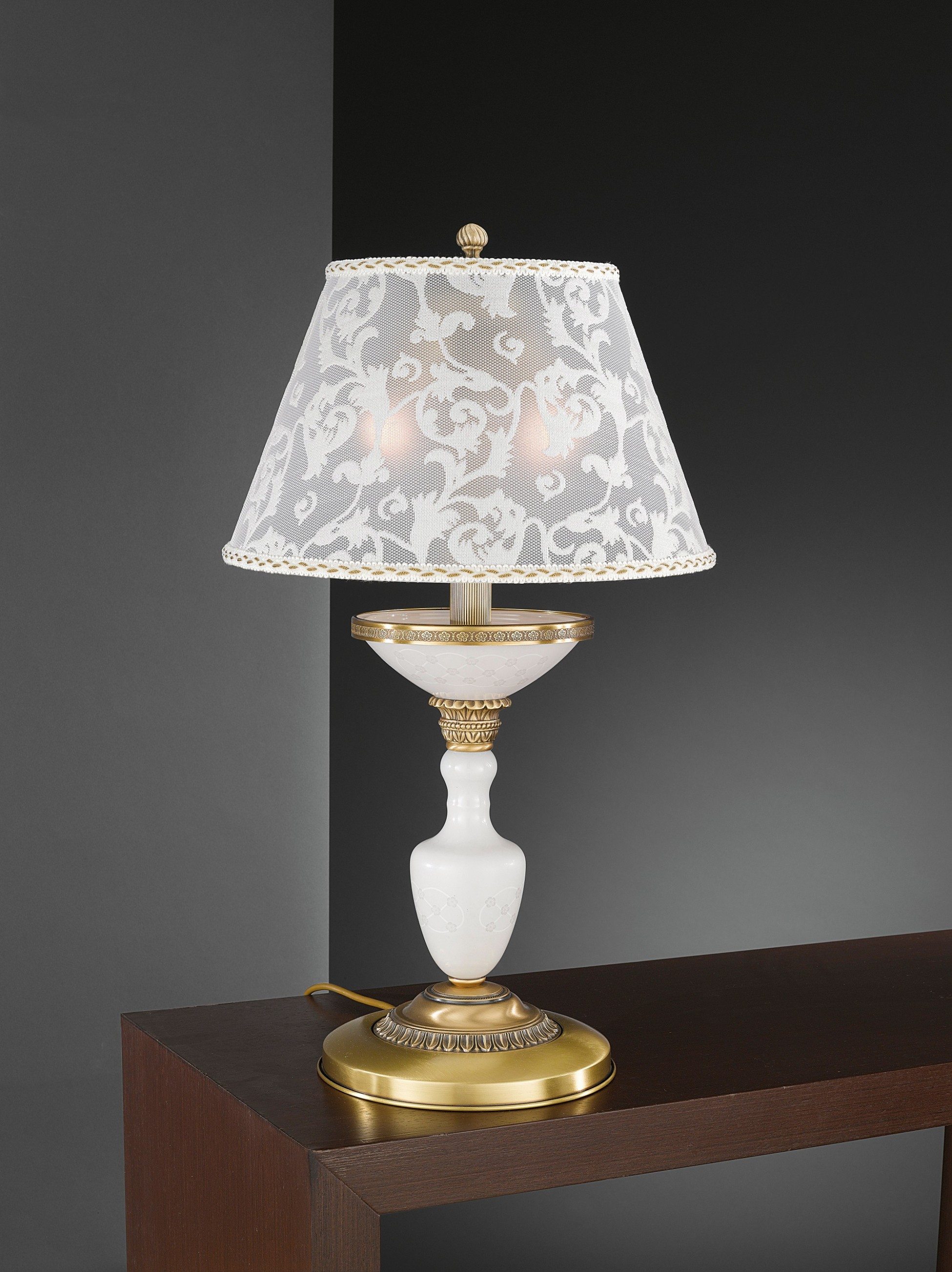 Large Brass Table Lamp With Decorated Spring Glass And Lamp Shade
