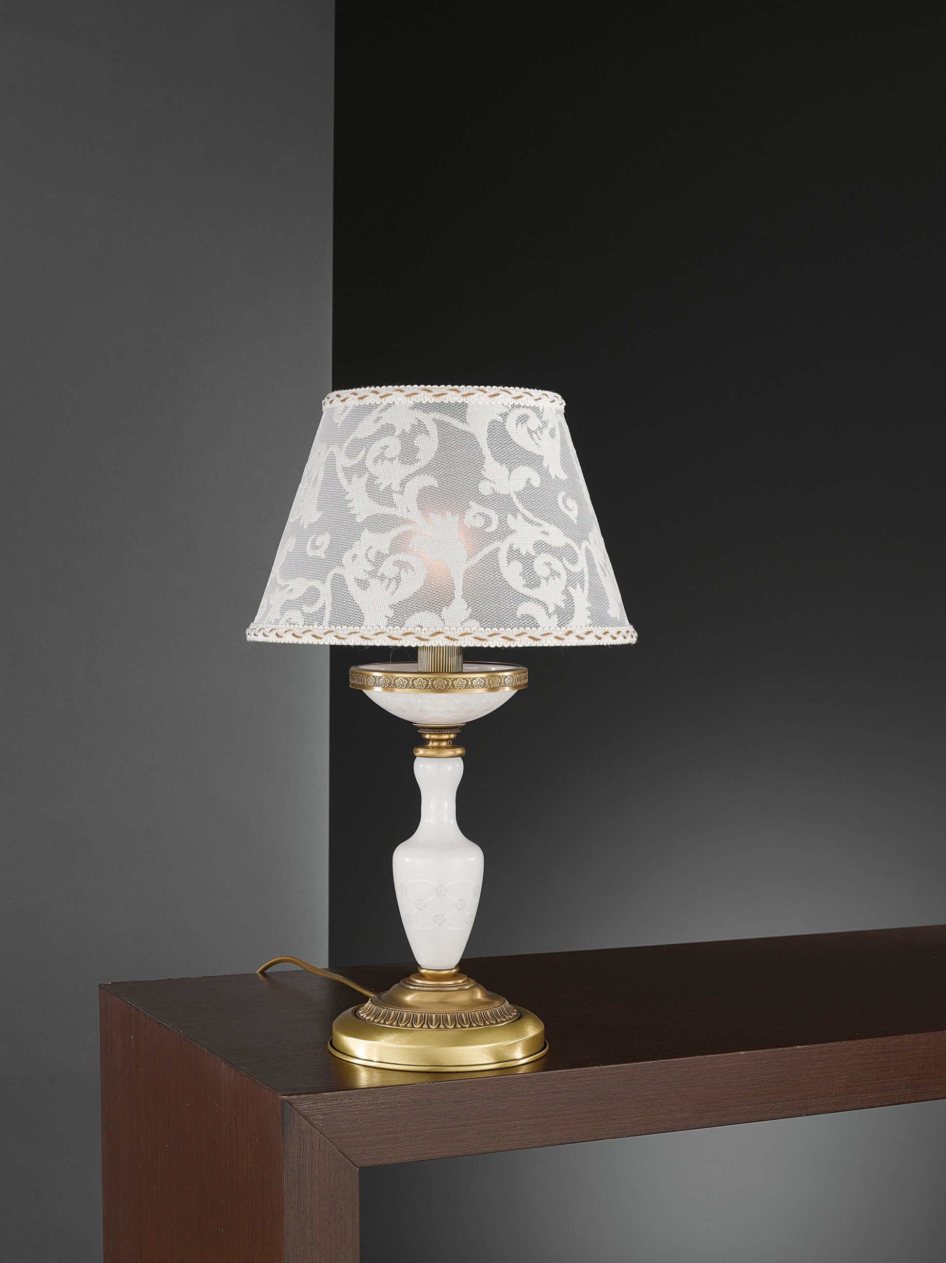 Small brass table lamp with decorated spring glass and lamp shade small brass table lamp with decorated aloadofball Choice Image