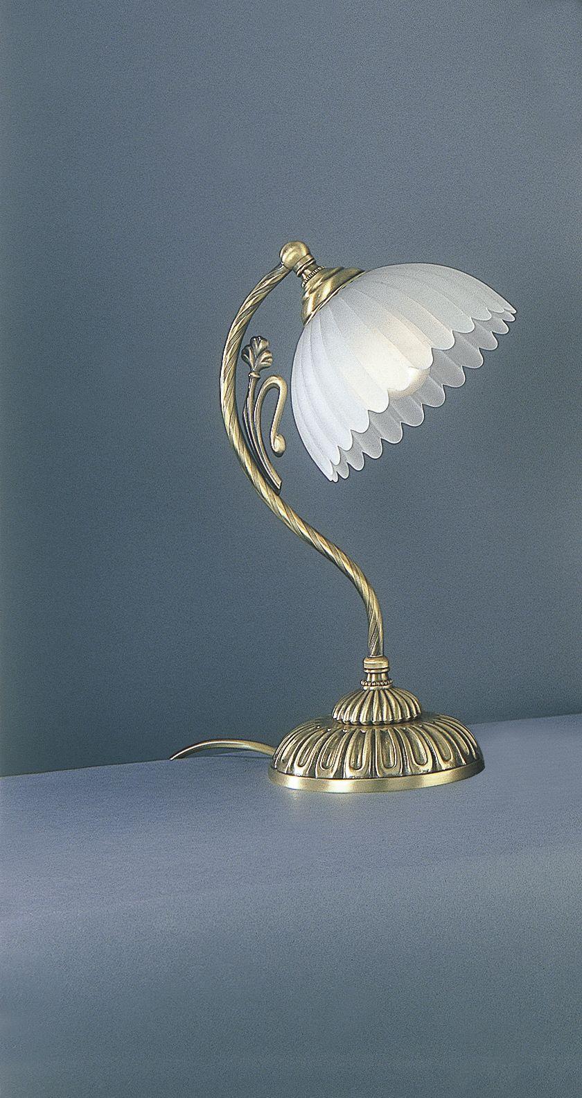 Lampada da comodino classica in ottone con vetro satinato for Lampada comodino