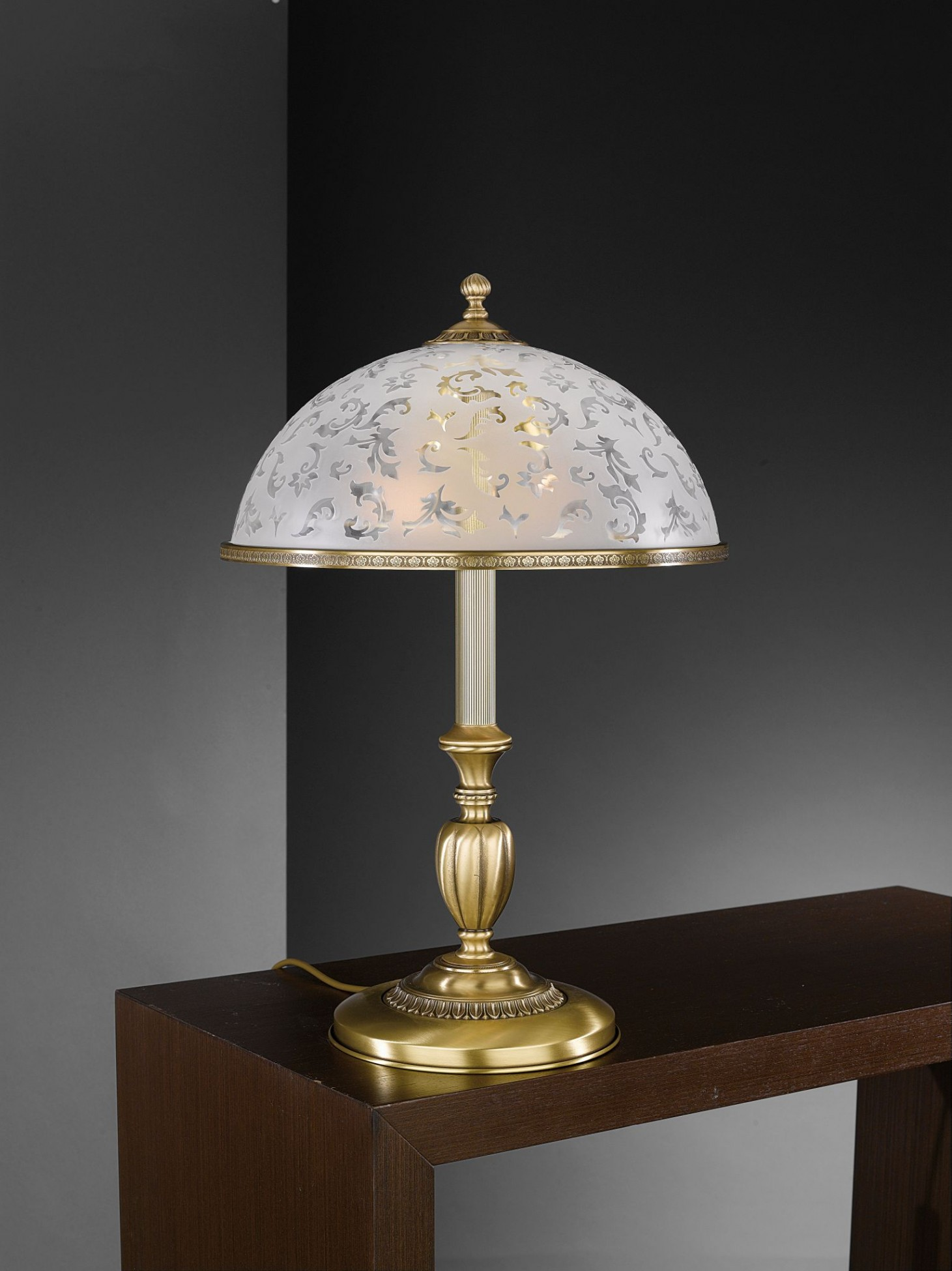Large Brass Table Lamp With Frosted Decorated Glass Reccagni Store