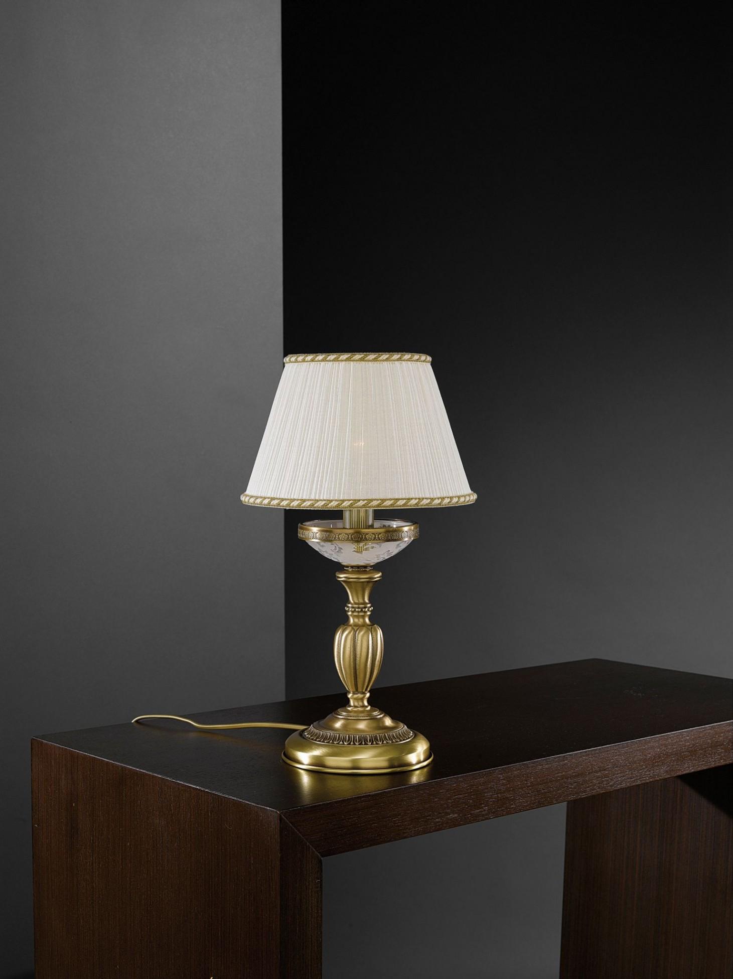 Lampada da comodino in ottone e vetro satinato con for Lampade da appoggio