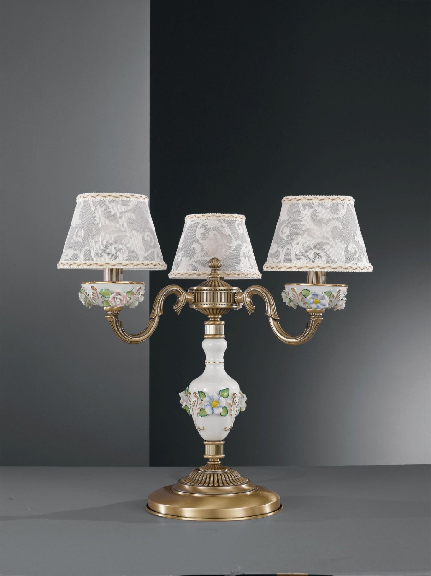 Lampada da tavolo in ottone e porcellana dipinta con 3 - Lampada da tavolo classica ...