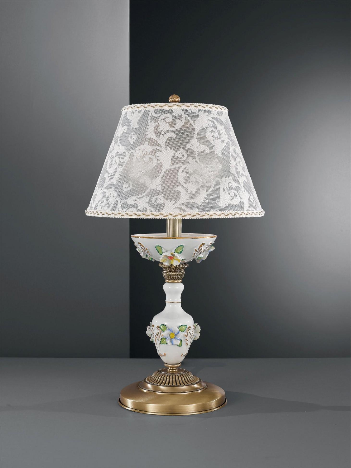 Lampada Da Tavolo In Ottone E Porcellana Dipinta Con Paralume Reccagni Store