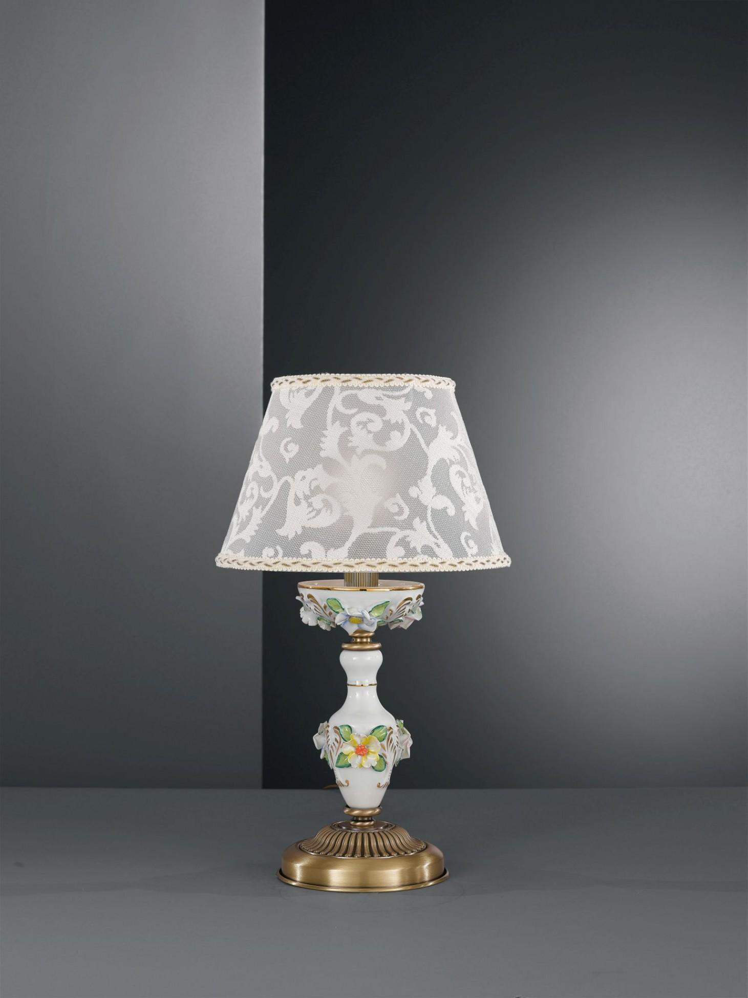 Lampada da comodino in ottone e porcellana dipinta con for Lampada comodino