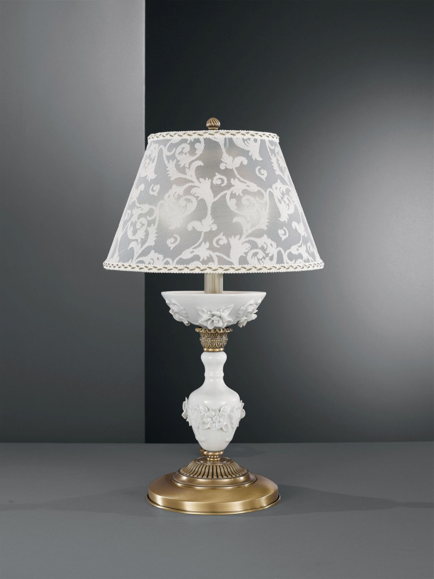 Brass Table Lamp With White Porcelain And Lamp Shade