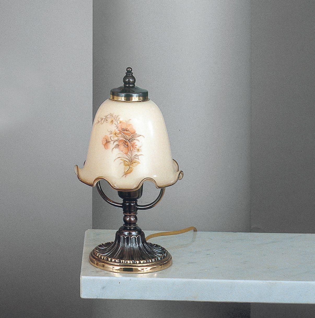 Lampada da comodino in ottone color bronzo e vetro for Lampada comodino