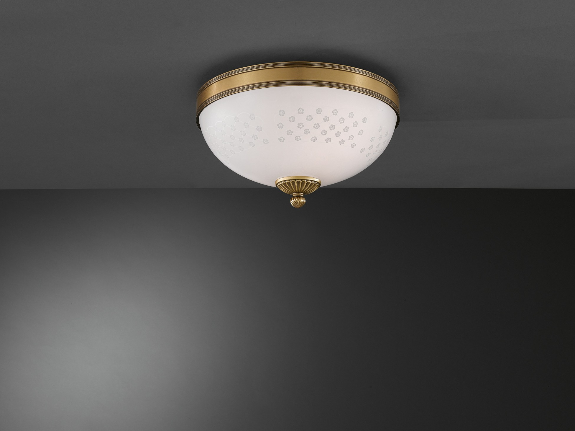 Brass ceiling light with decorated spring glass 2 lights 30 cm brass ceiling light with decorated aloadofball Images