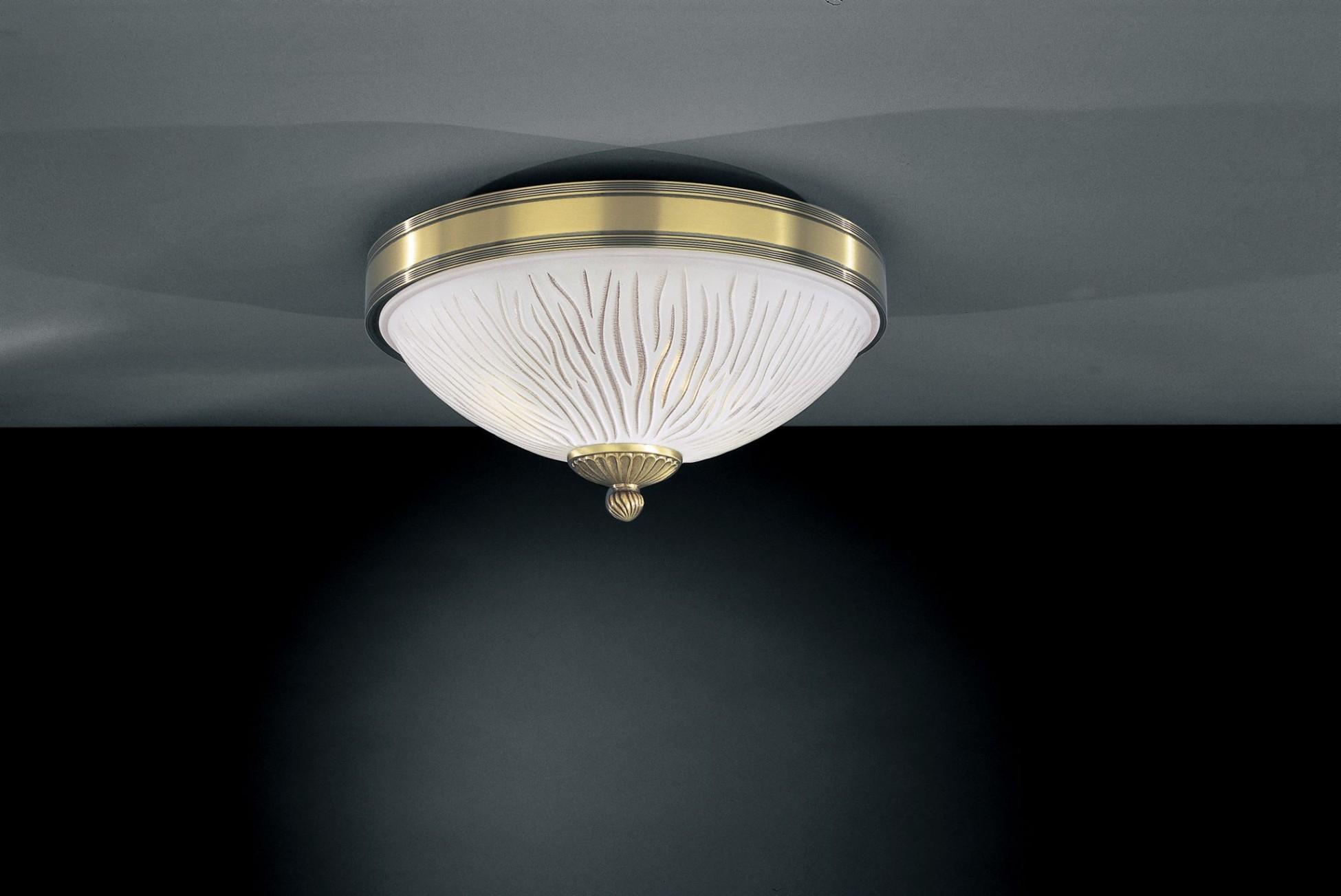 Plafoniera Ottone : Plafoniera in ottone e vetro bianco striato luci cm