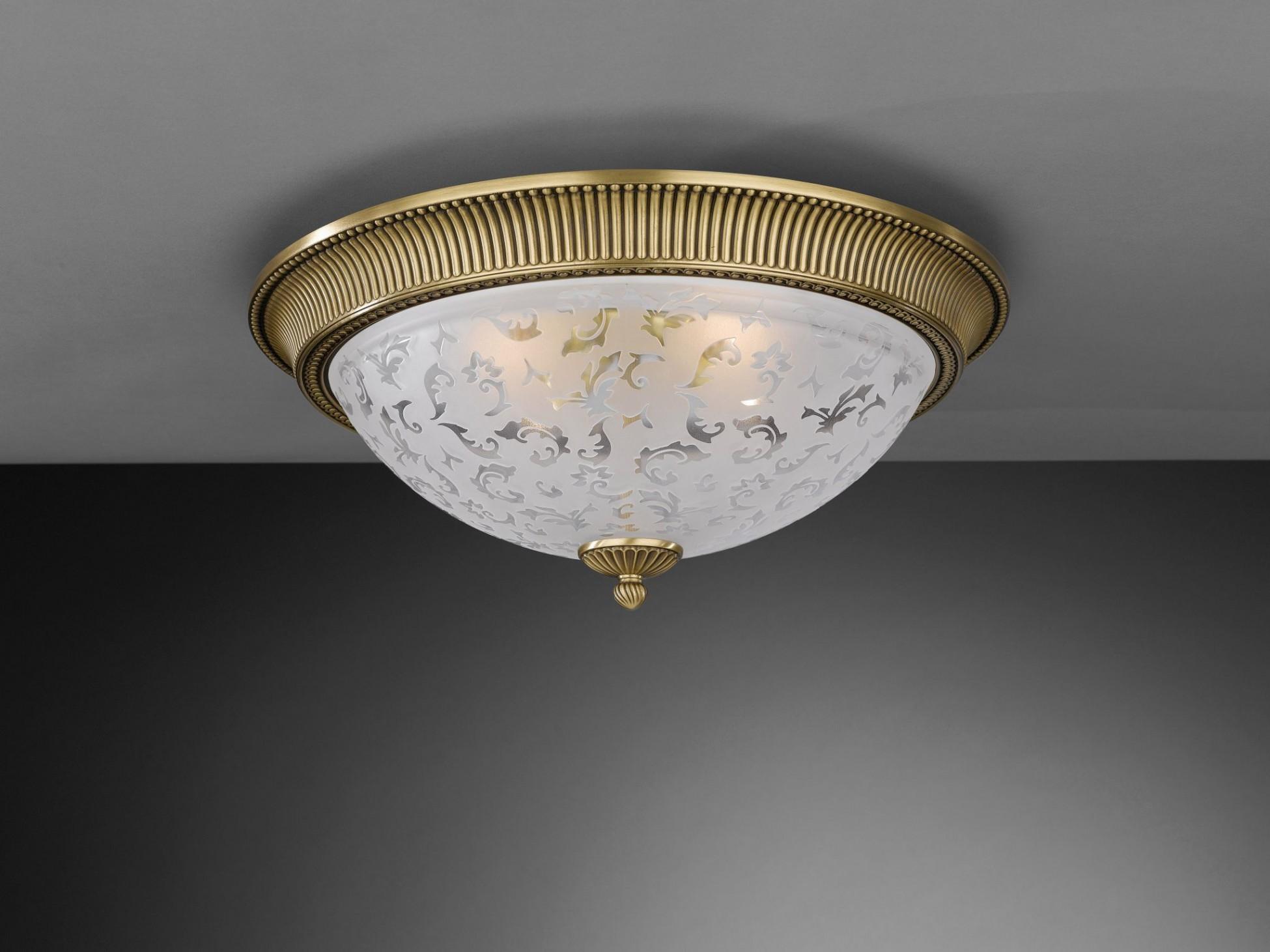 Plafoniera Ottone Vetro : Plafoniera in ottone e vetro satinato 4 luci 50 cm reccagni store
