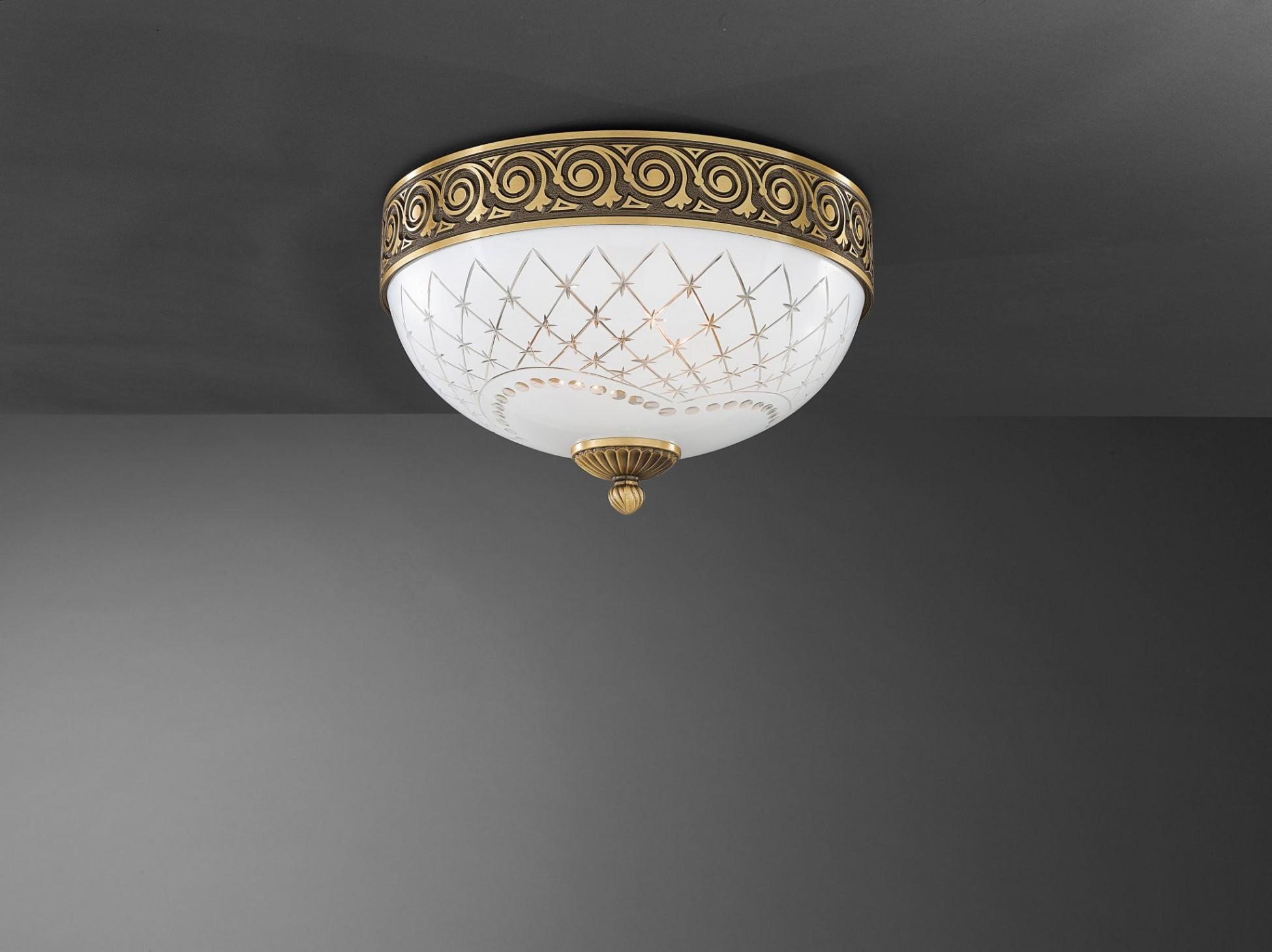 Plafoniera Ottone Vetro : Plafoniera in ottone e vetro bianco molato 2 luci 30 cm reccagni store