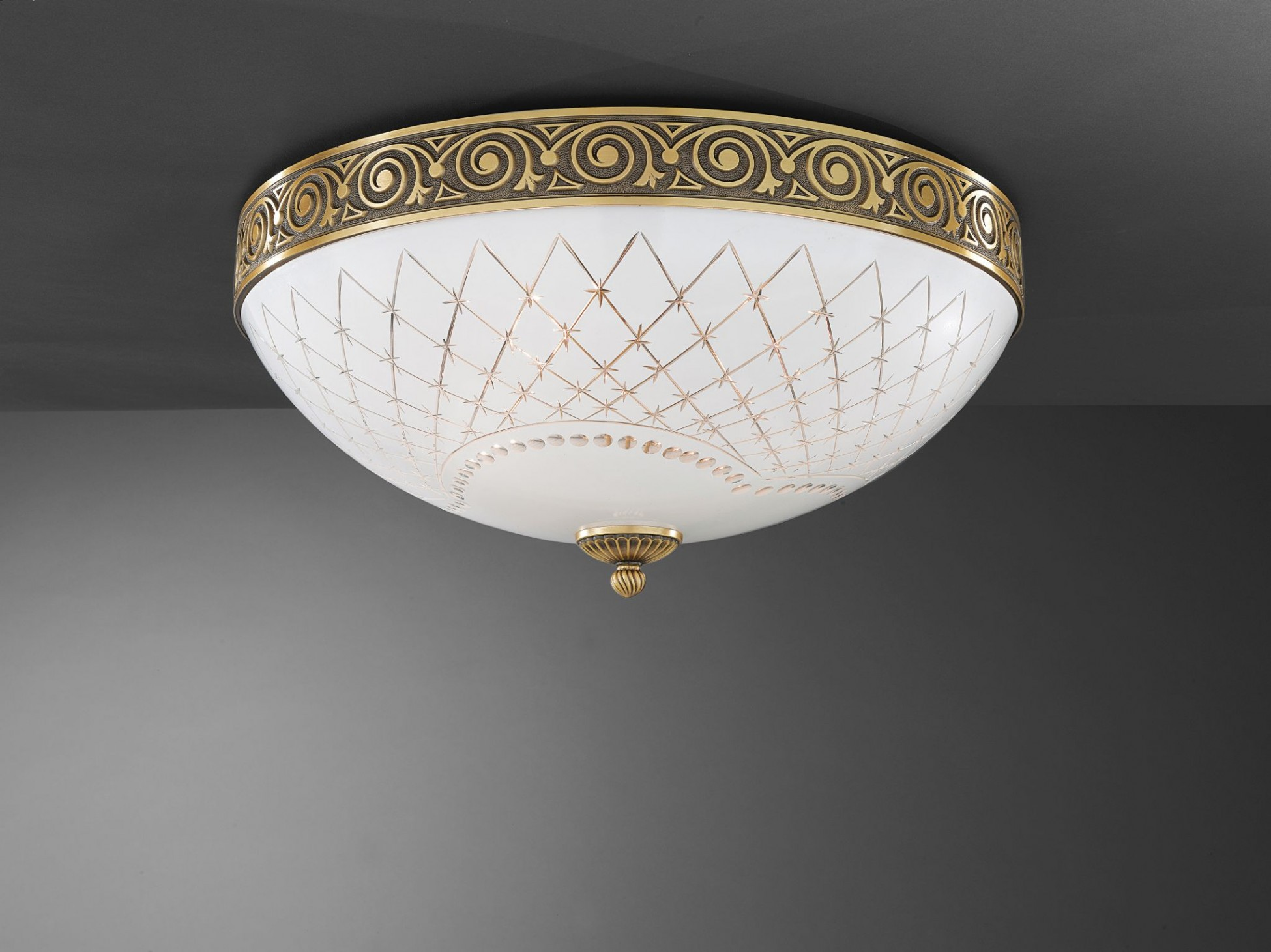 Plafoniera Ottone Vetro : Plafoniera in ottone e vetro bianco molato 4 luci 50 cm reccagni store