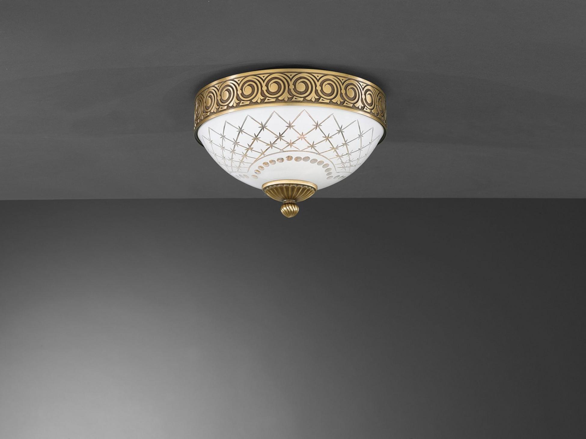 Plafoniere Ottone E Vetro : Plafoniera classica in ottone e vetro molato bianco 2 luci 24 cm