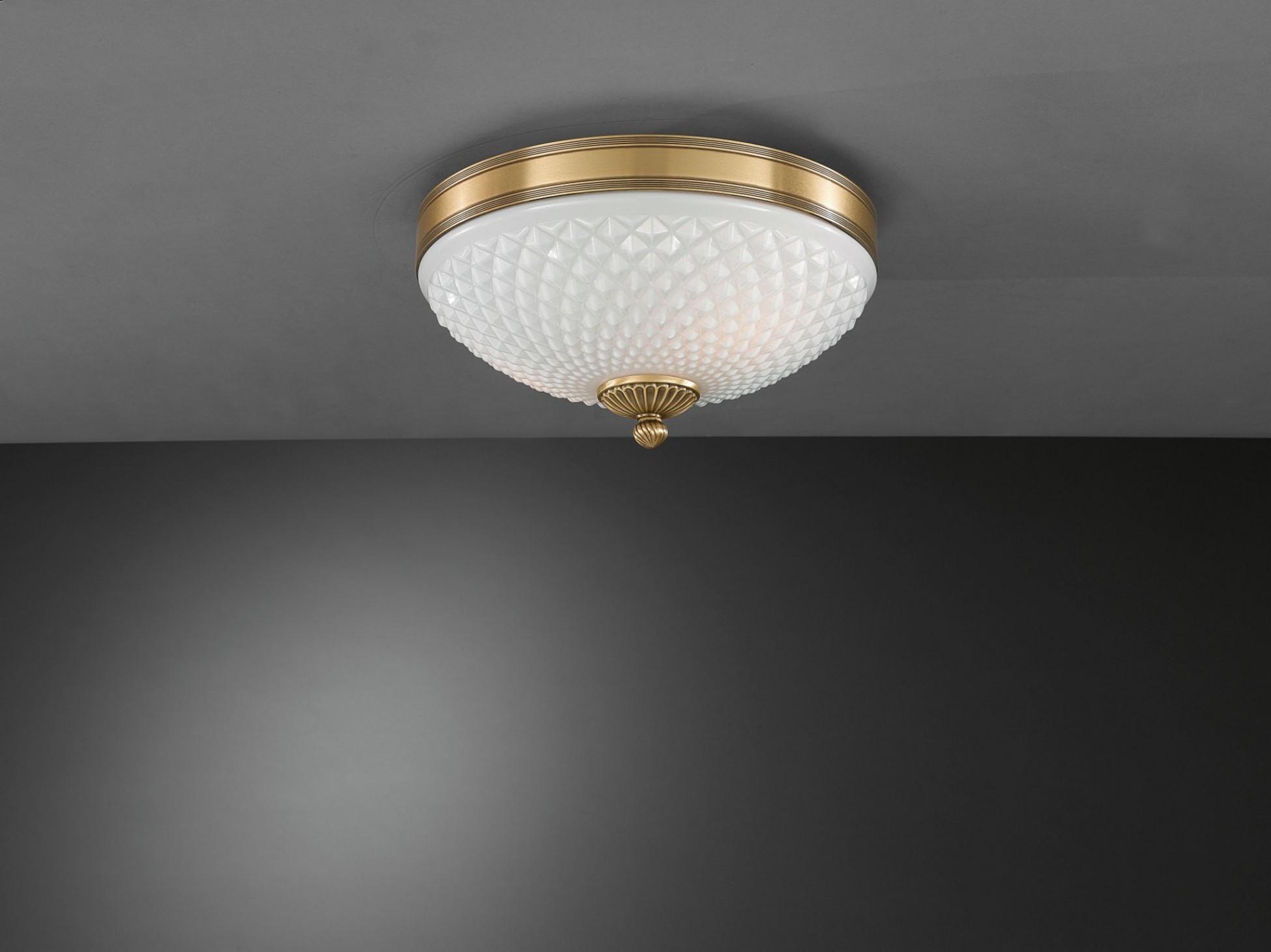 Plafoniere Ottone E Vetro : Plafoniera in ottone e vetro bianco soffiato 2 luci 30 cm reccagni