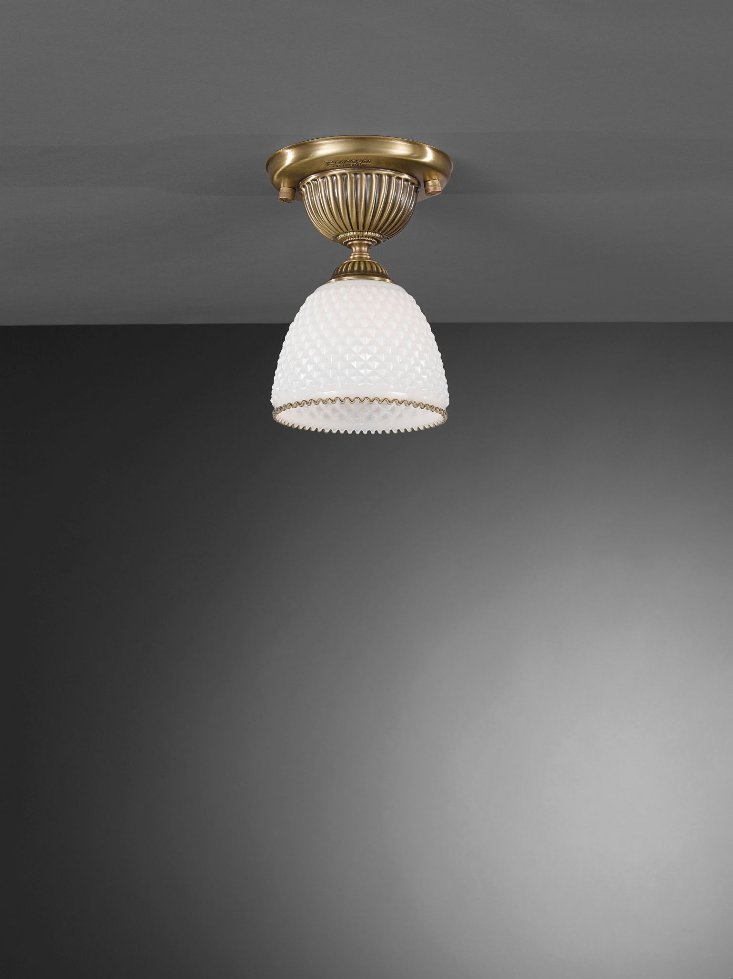 Traditional Brass Ceiling Light With White Blown Glass